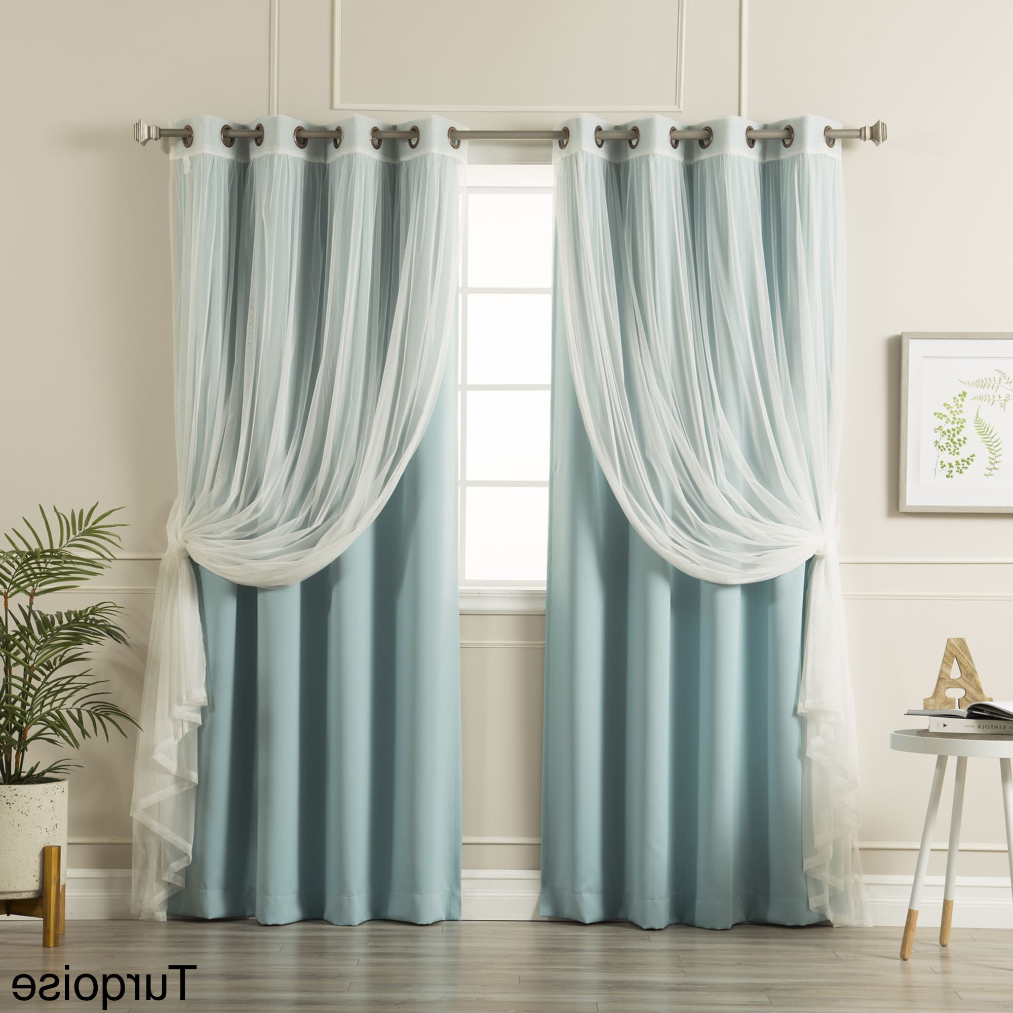 Widely Used Tulle Sheer With Attached Valance And Blackout 4 Piece Curtain Panel Pairs Intended For Aurora Home Mix & Match Blackout Tulle Lace Sheer 4 Piece (View 10 of 20)