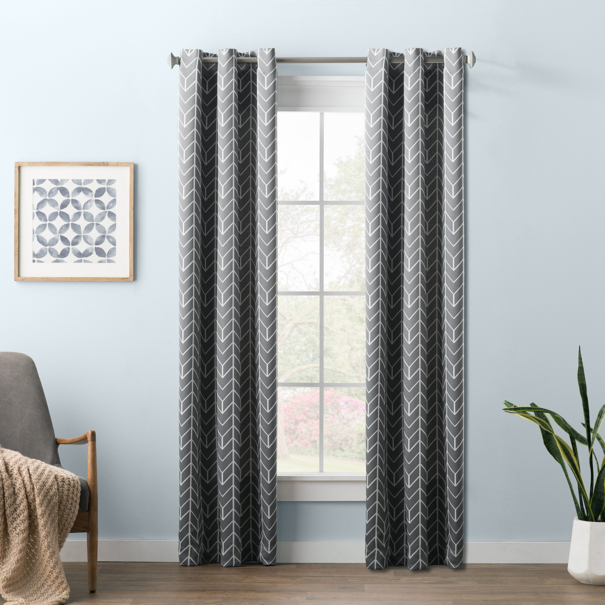 Widely Used Wayfair Basics Chevron Blackout Single Curtain Panel Intended For Chevron Blackout Grommet Curtain Panels (View 20 of 20)