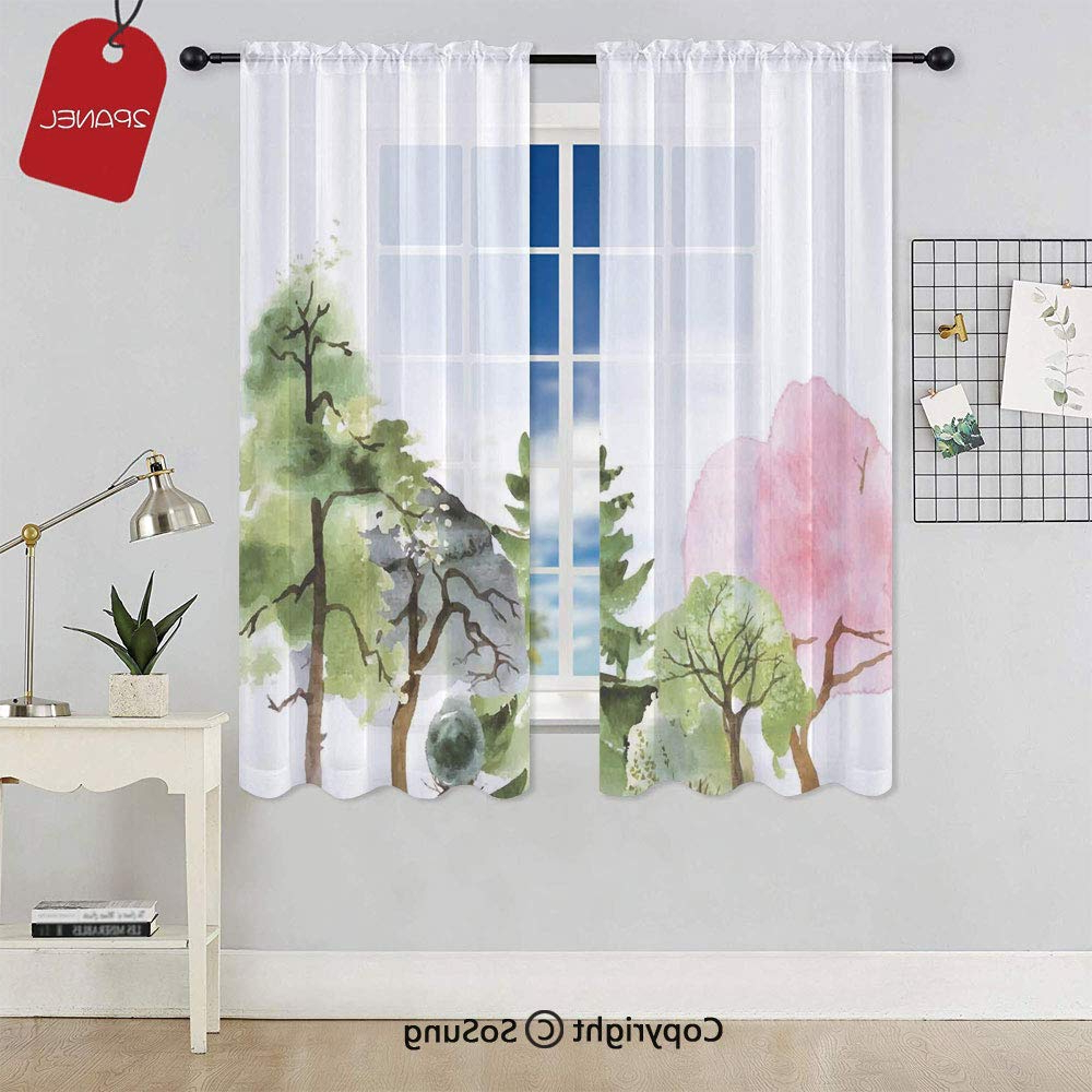 Widely Used Willow Rod Pocket Window Curtain Panels For Amazon: Colorful Forest With Oak And Willow Growth (View 8 of 20)
