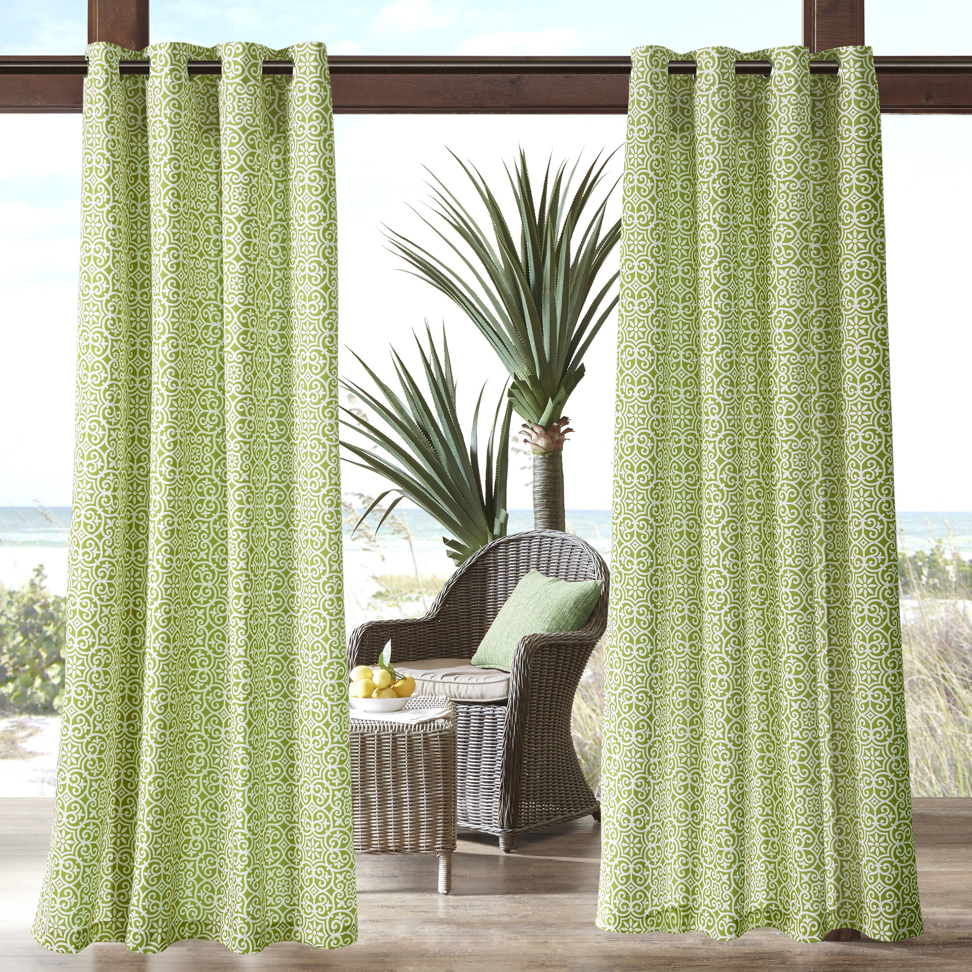 Willette Semi Sheer Outdoor Grommet Single Curtain Panel Intended For 2021 Single Curtain Panels (View 13 of 20)