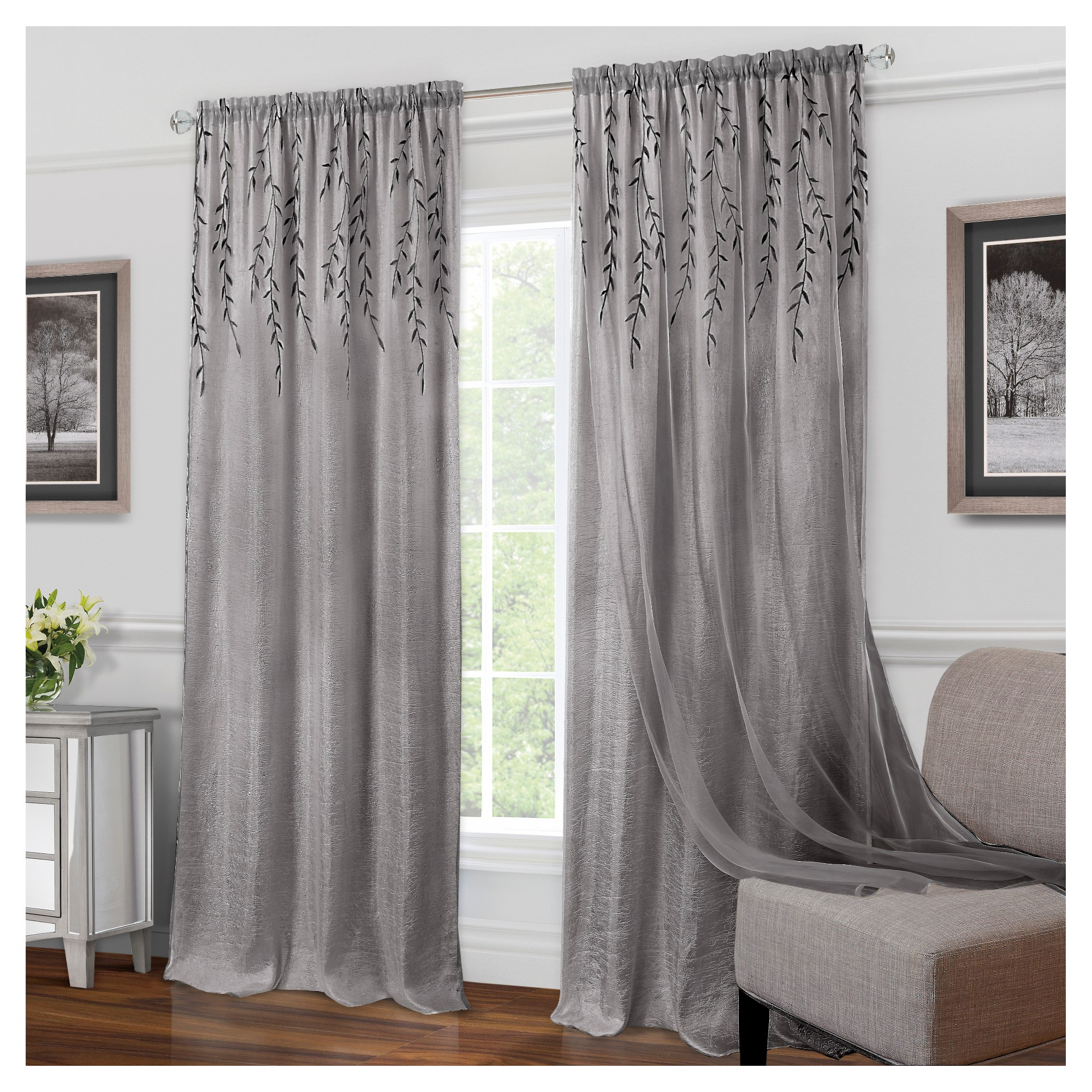 """Willow Rod Pocket Window Curtain Panel White (42""""x63 Throughout Well Liked Willow Rod Pocket Window Curtain Panels (View 4 of 20)"""
