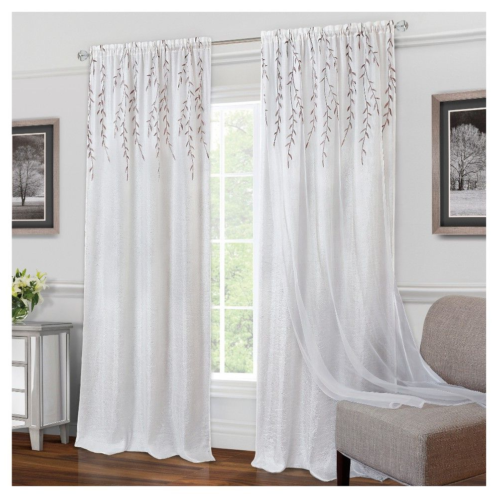 """Willow Rod Pocket Window Curtain Panels Intended For Widely Used Willow Rod Pocket Window Curtain Panel White (42""""x (View 3 of 20)"""