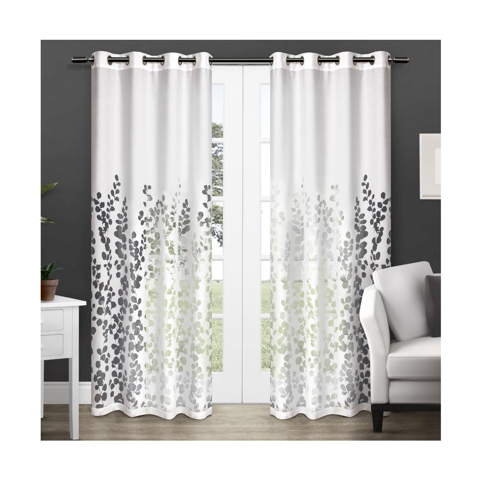 Wilshire Burnout Grommet Top Curtain Panel Pairs Inside Fashionable Exclusive Home Wilshire Sheer Window Curtain Panel Pair (View 8 of 20)
