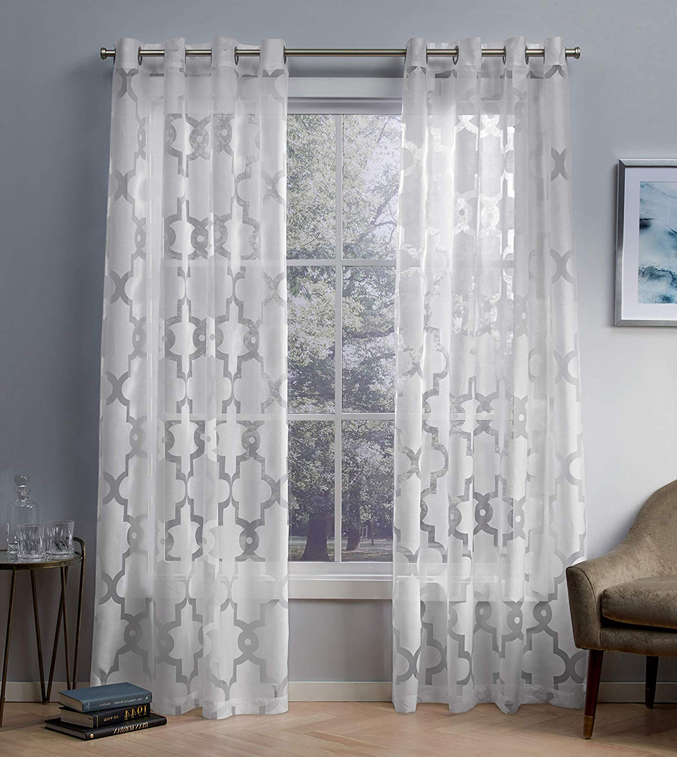 Wilshire Burnout Grommet Top Curtain Panel Pairs With Regard To Most Current Exclusive Home Curtains Essex Geometric Sheer Burnout Window Curtain Panel Pair With Grommet Top, 52x84, Winter White, 2 Piece (View 16 of 20)