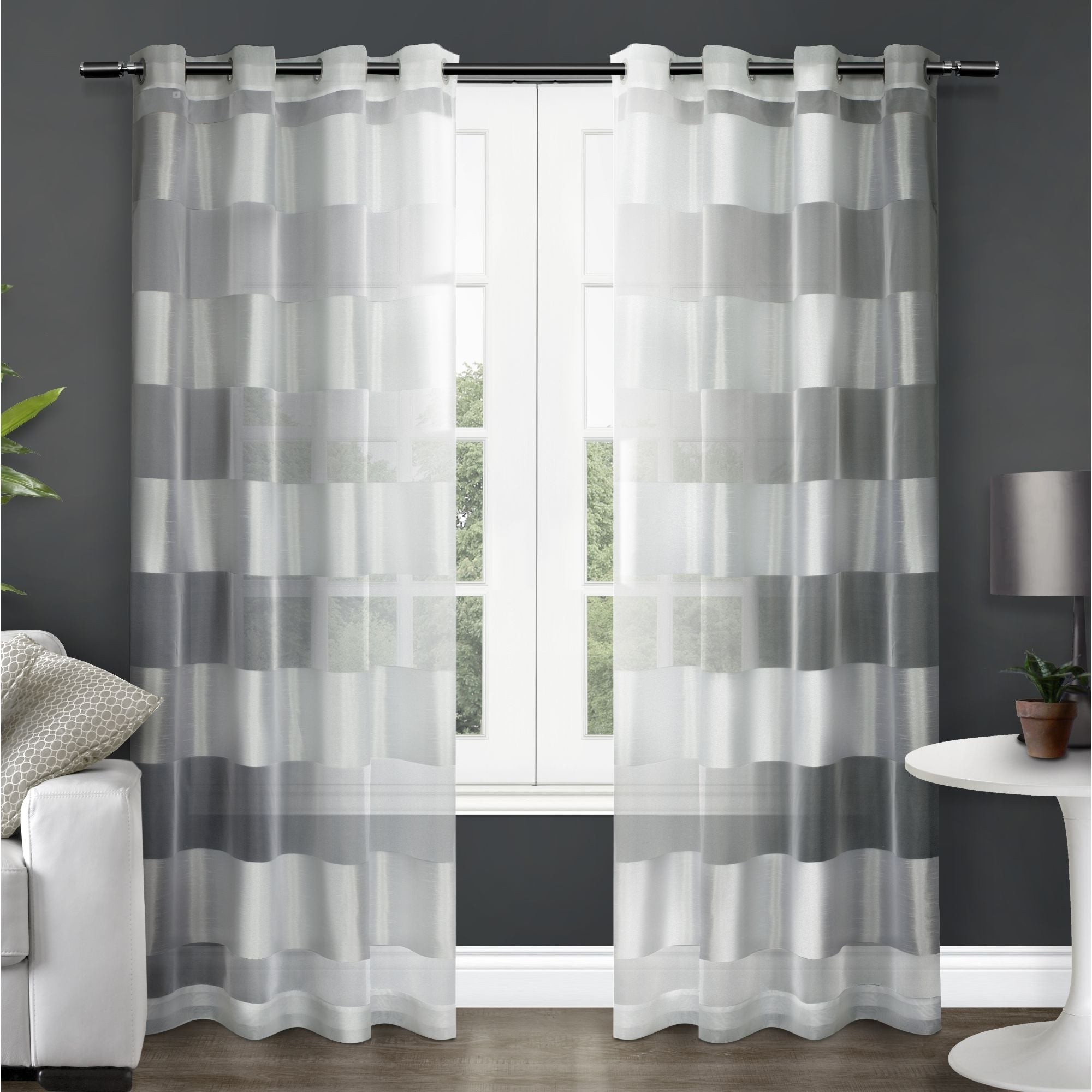 Wilshire Burnout Grommet Top Curtain Panel Pairs With Regard To Preferred Copper Grove Radomir Striped Sheer Grommet Top Curtain Panel Pair (View 3 of 20)