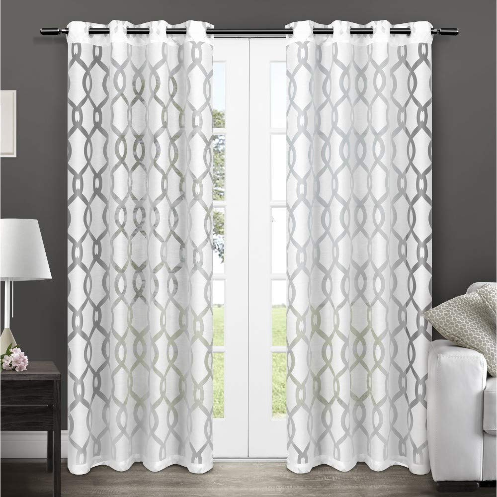 Wilshire Burnout Grommet Top Curtain Panel Pairs Within Most Up To Date Exclusive Home Curtains Rio Burnout Sheer Window Curtain Panel Pair With Grommet Top, 54x96, Winter White, 2 Piece (View 2 of 20)