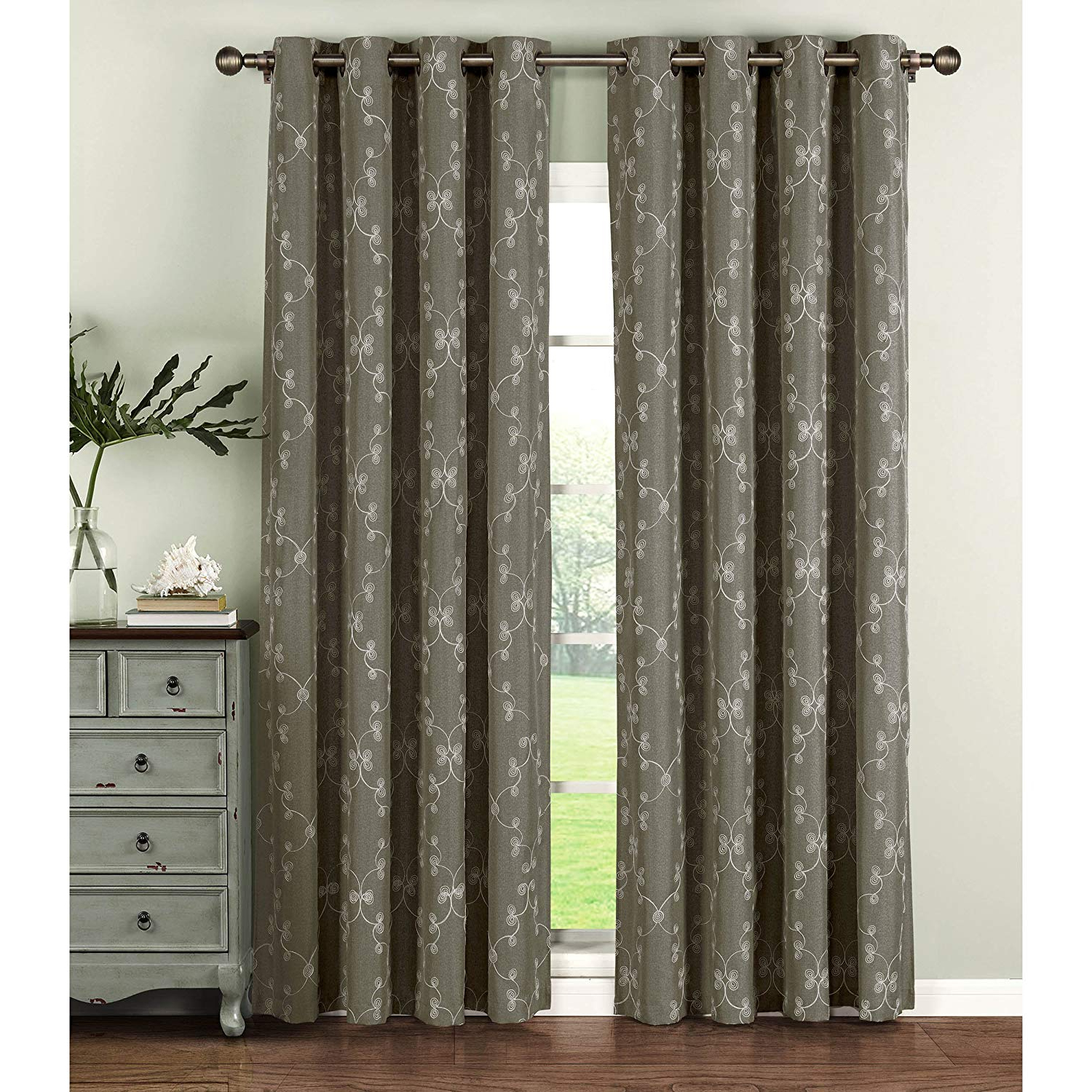 Window Elements Geo Gate Embroidered Faux Linen Extra Wide 108 X 96 In (View 8 of 21)