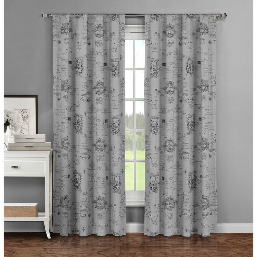 Window Elements Semi Opaque Fleur De Lis Printed Cotton Extra Wide 96 In (View 12 of 20)