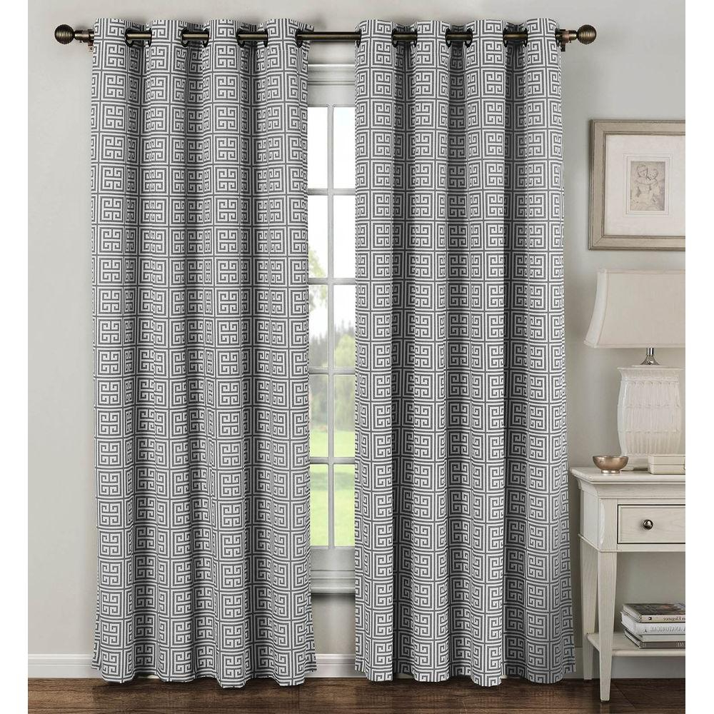 Window Elements Semi Opaque Greek Key Cotton Blend Extra Wide 96 In (View 10 of 20)