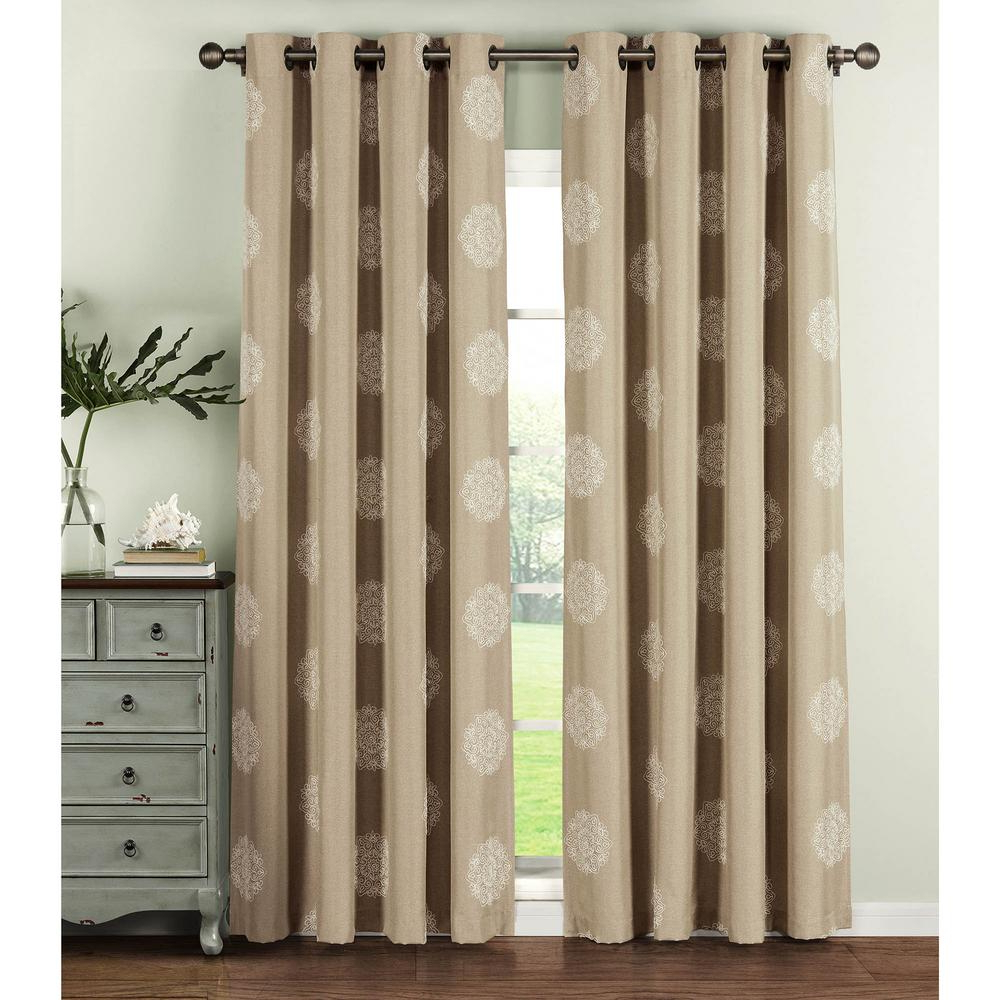 Window Elements Semi Opaque Venice Embroidered Faux Linen Extra Wide 84 In (View 9 of 20)
