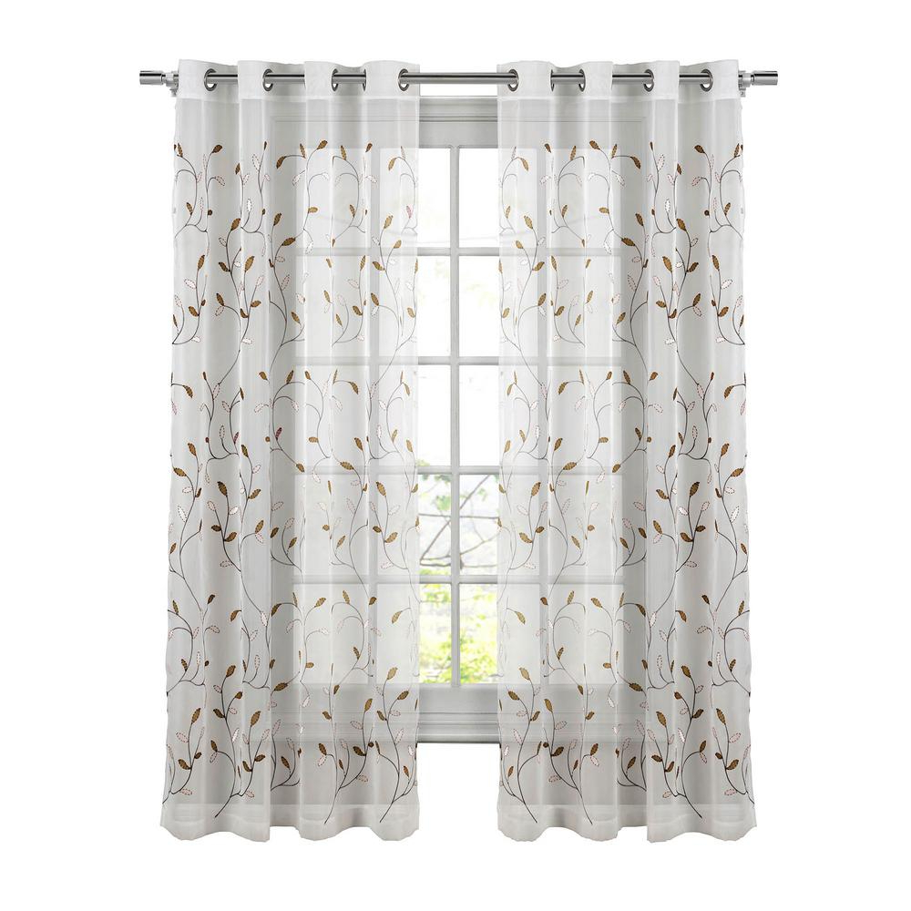 Window Elements Sheer Wavy Leaves Embroidered Sheer Chocolate Grommet Extra  Wide Curtain Panel, 54 In. W X 84 In (View 3 of 20)