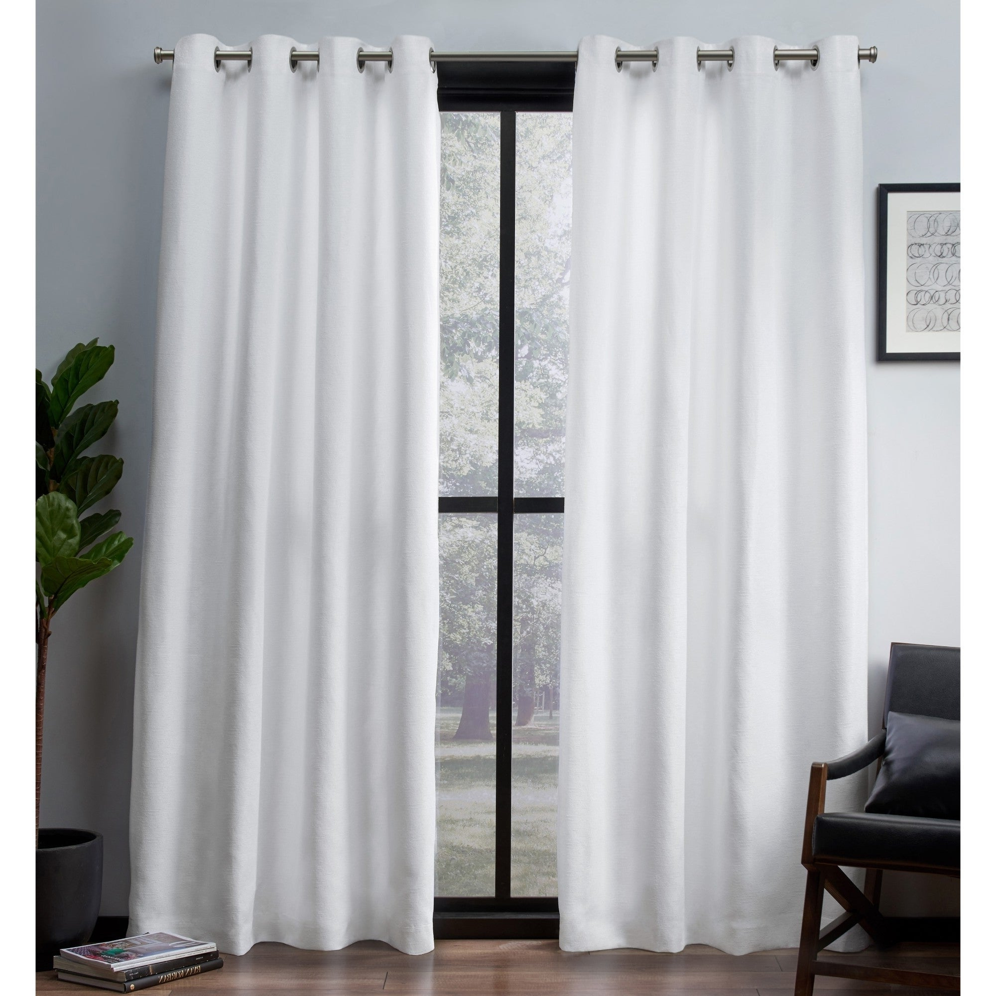 Woven Blackout Curtain Panel Pairs With Grommet Top Throughout Most Popular Ati Home Leeds Slub Woven Blackout Grommet Top Curtain Panel Pair (View 17 of 20)