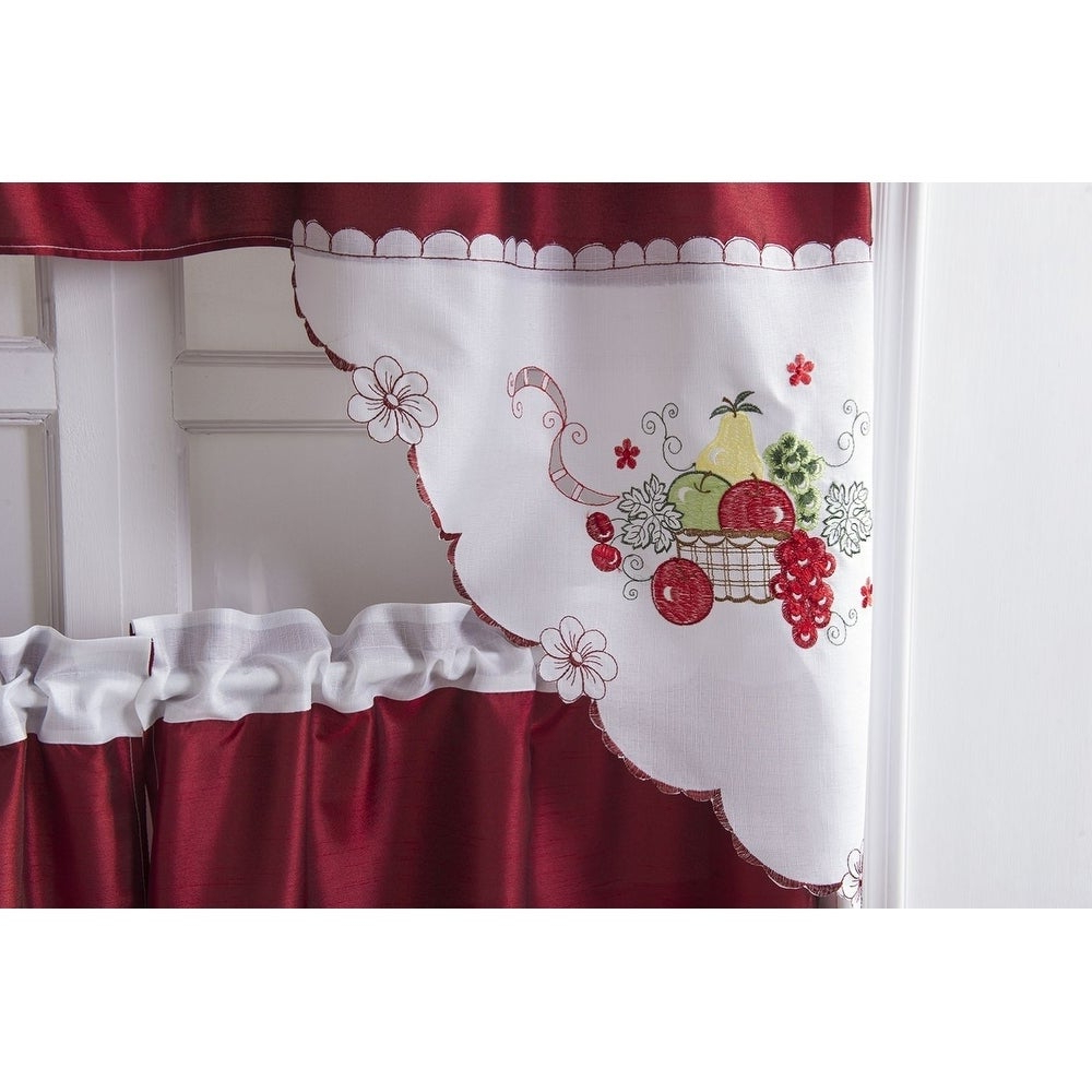 2020 Apple Orchard Printed Kitchen Tier Sets Regarding Porch & Den Eastview Faux Silk 3 Piece Kitchen Curtain Set (View 17 of 20)