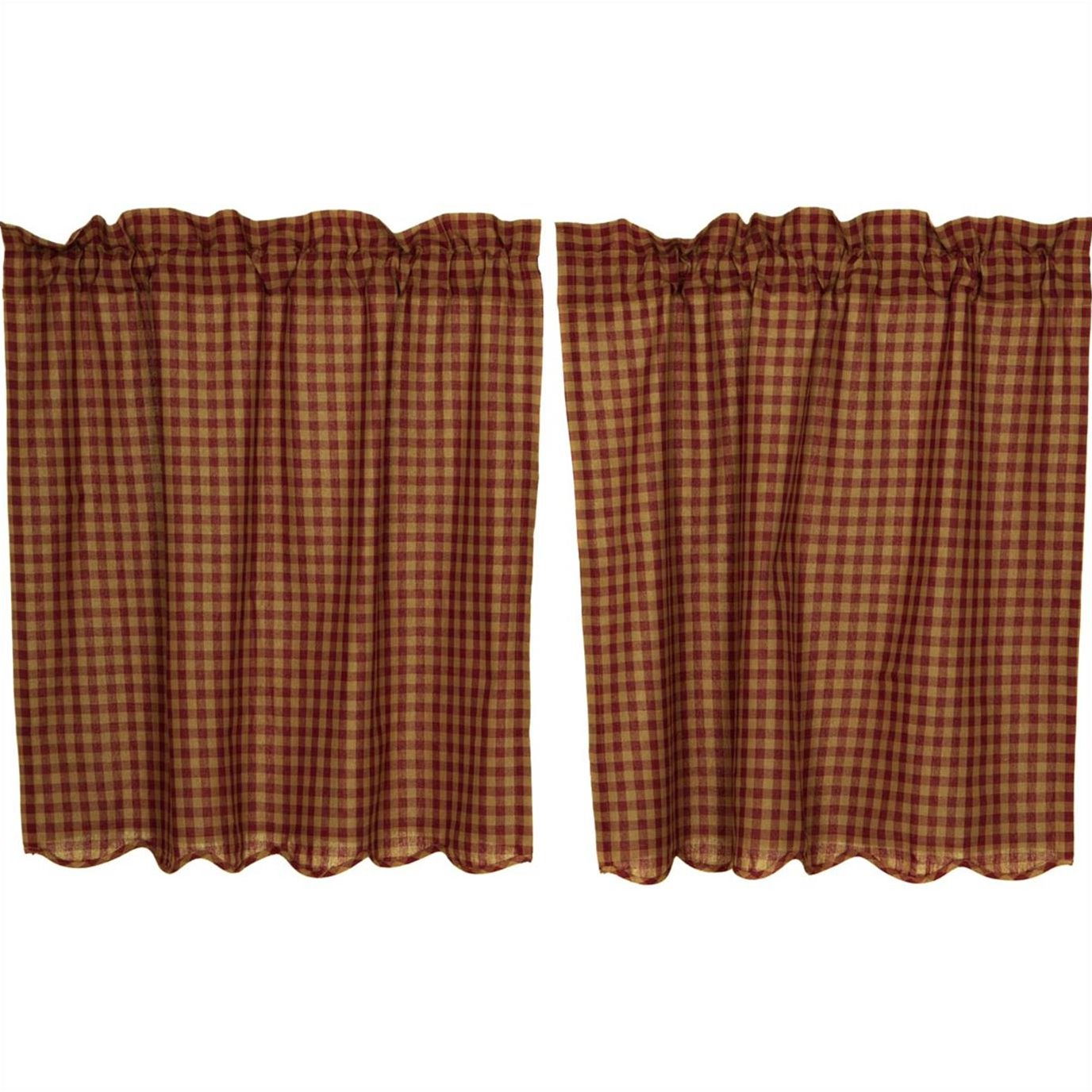 2020 Burgundy Check Scalloped Tier Set Of 2 L36xw36 With Check Scalloped Swag Sets (View 17 of 20)