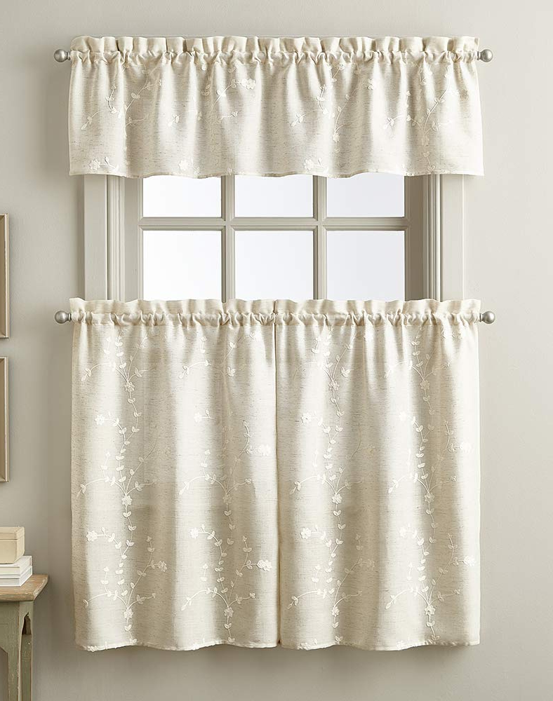 2020 Chf Lynette Floral Window Kitchen Curtain Valance, Rod Pocket, 56W X 14L  Inch, Linen With Semi Sheer Rod Pocket Kitchen Curtain Valance And Tiers Sets (View 1 of 20)