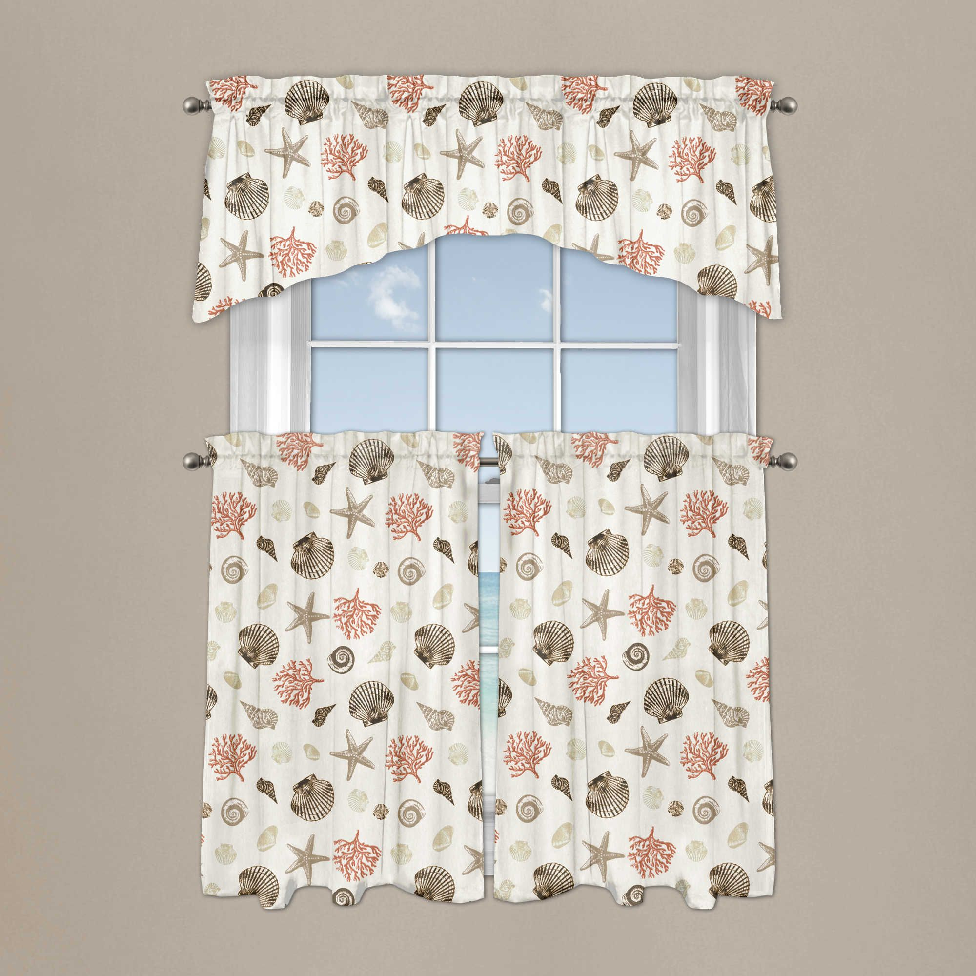 2020 Coastal Tier And Valance Window Curtain Sets For Seashore Coral Window Curtain Tier Pair And Valance (View 17 of 20)