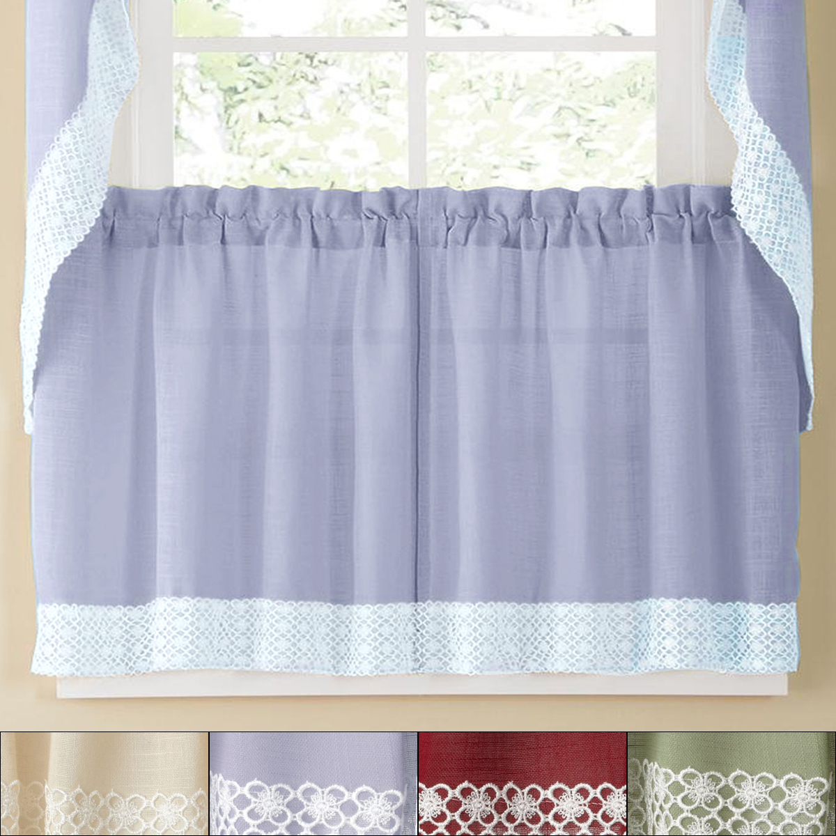 2020 Country Style Curtain Parts With White Daisy Lace Accent Within Details About Salem Kitchen Window Curtain W/ Lace Trim – 24 X 60 Tier Pair (View 12 of 20)