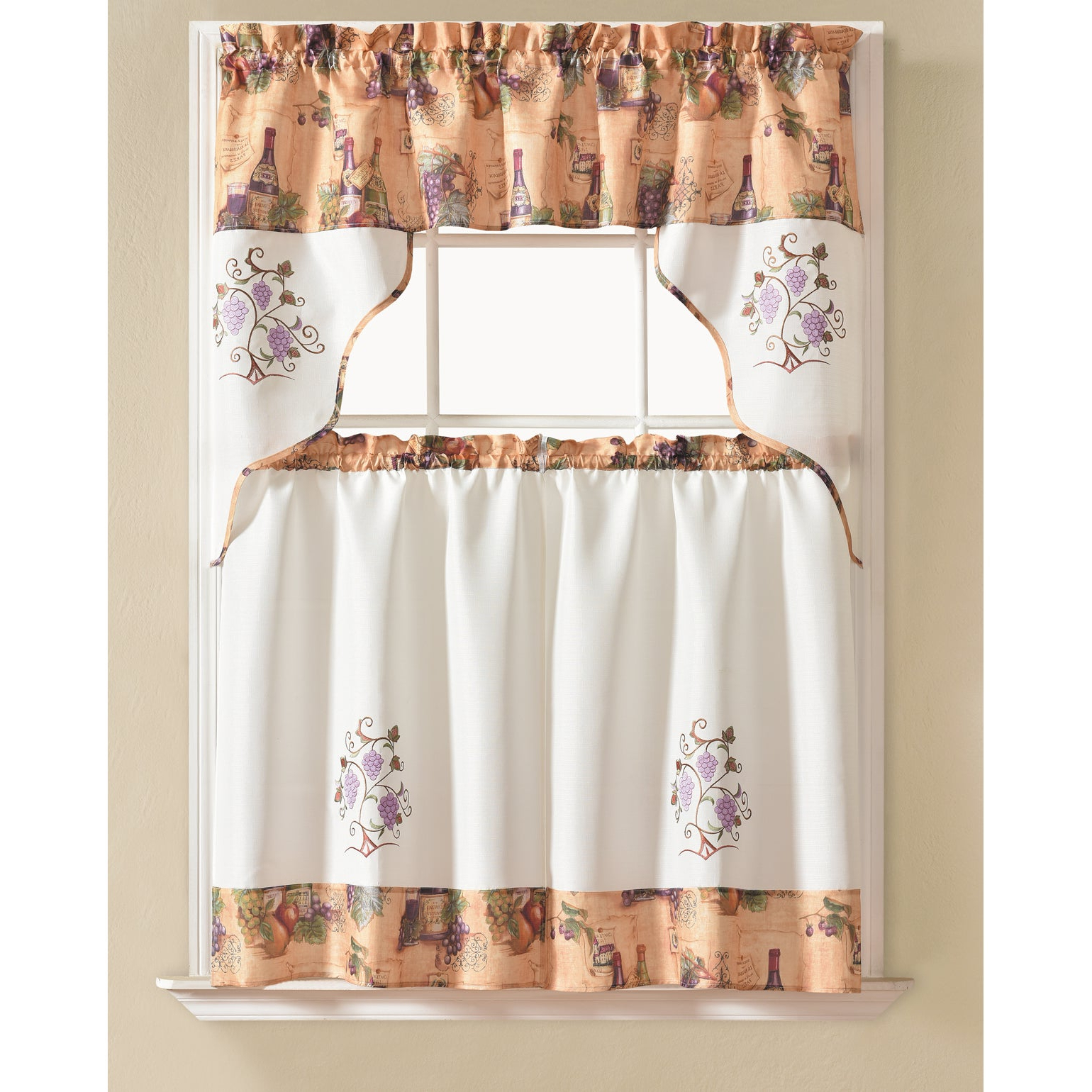 2020 Delicious Apples Kitchen Curtain Tier And Valance Sets Regarding Rt Designers Collection Urban Embroidered Tier And Valance Kitchen Curtain Tier Set (View 5 of 20)