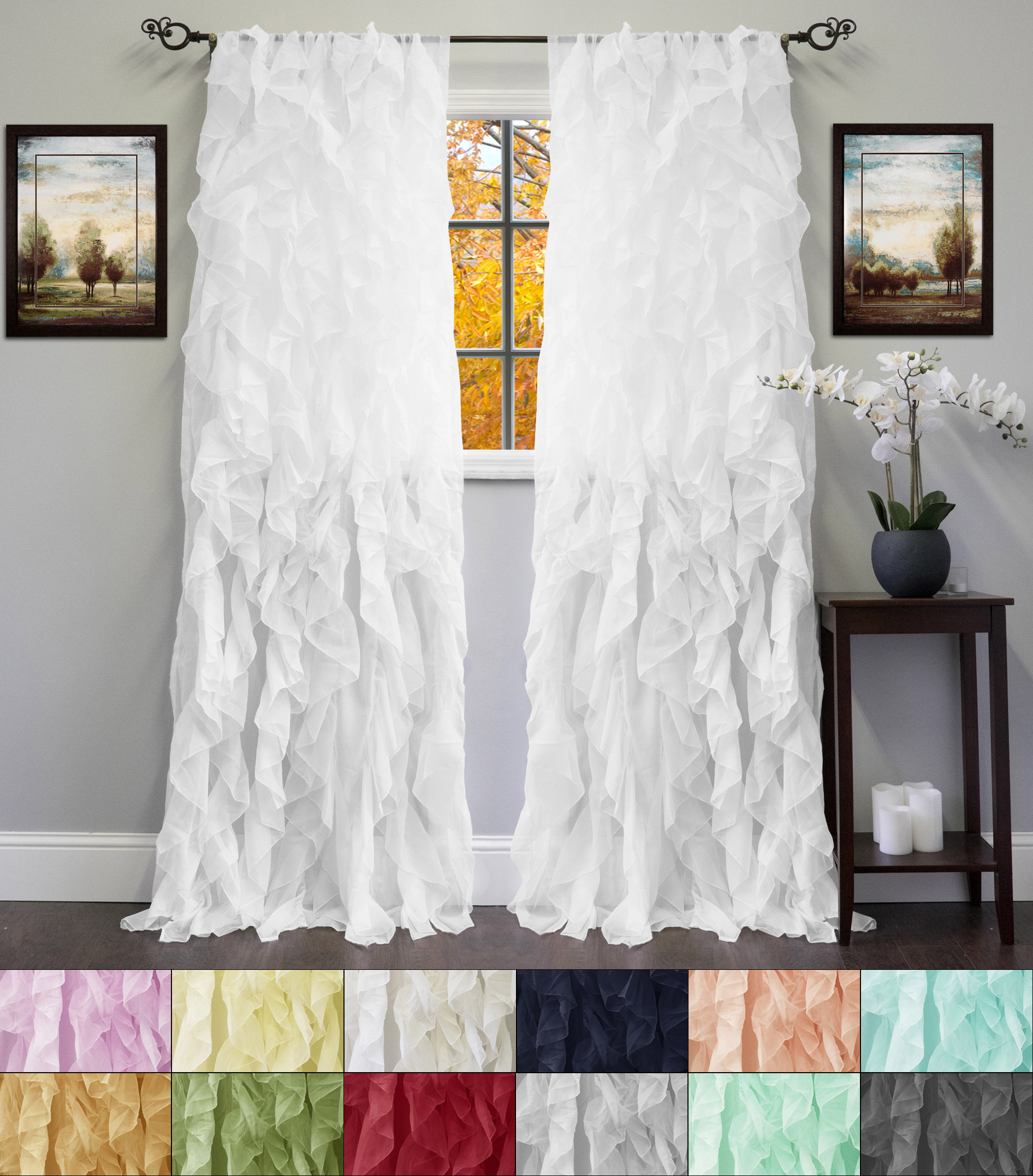 Featured Photo of Chic Sheer Voile Vertical Ruffled Window Curtain Tiers