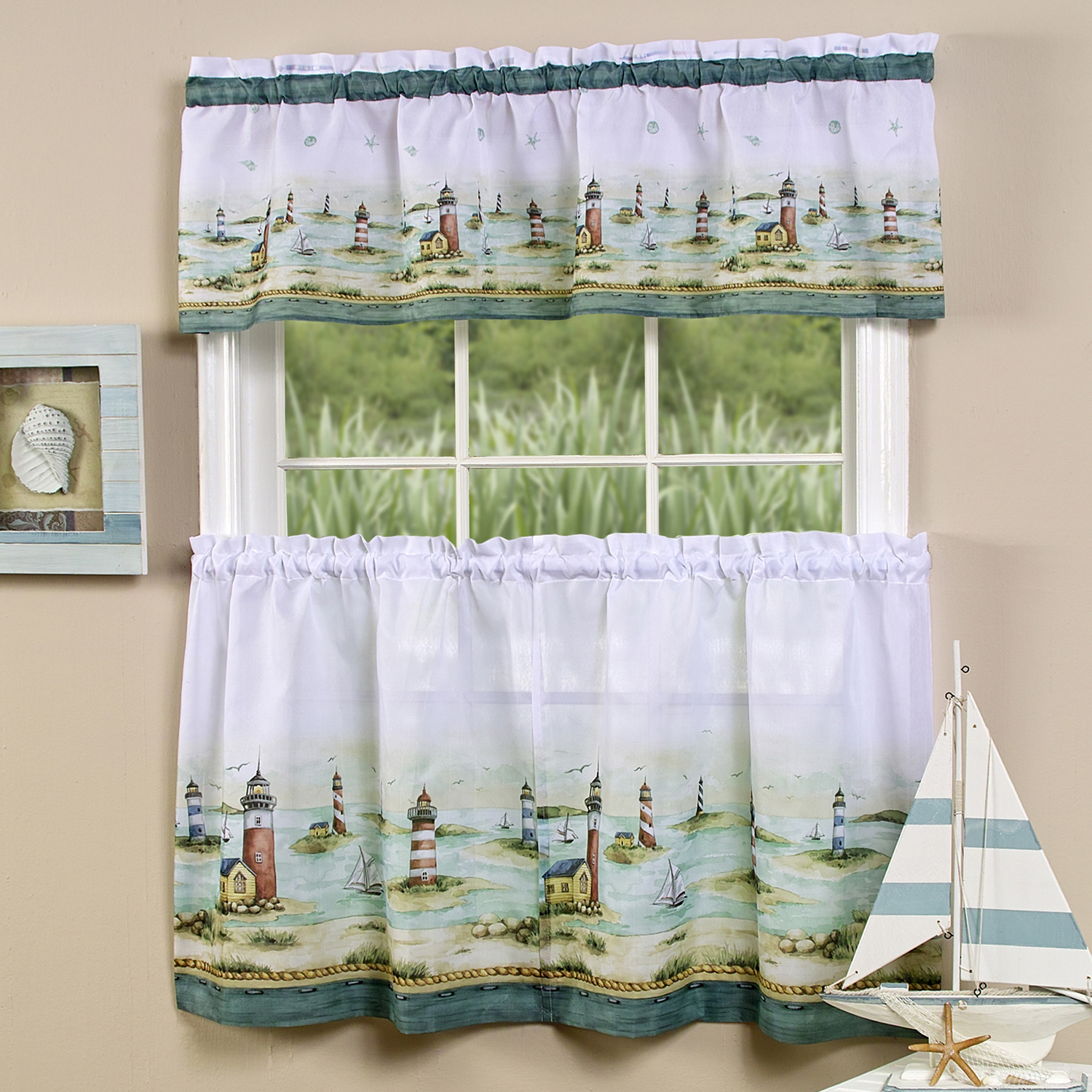 "2020 Details About Hamptons Lighthouses Kitchen Curtain 36"" Tier Pair & 13"" Tailored Valance Set With Tailored Valance And Tier Curtains (View 17 of 20)"