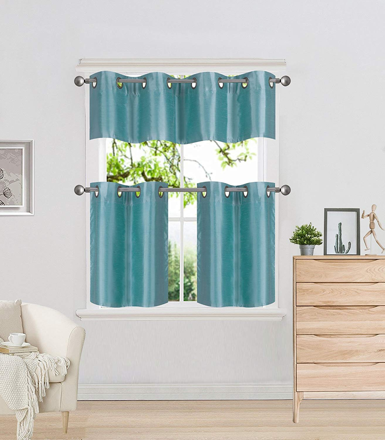 2020 Diamondhome 3 Piece Faux Silk Grommet Lined Thermal Blackout Kitchen Window  Curtain Set 2 Tiers & 1 Valance (Teal) Pertaining To Faux Silk 3 Piece Kitchen Curtain Sets (View 1 of 20)