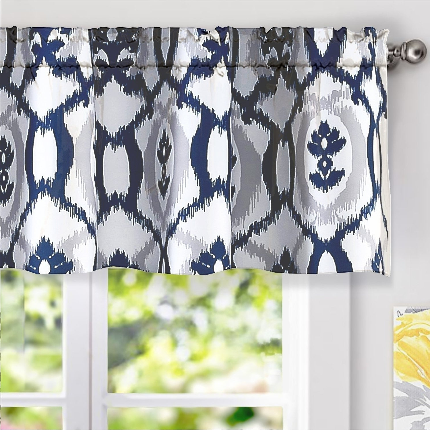 2020 Driftaway Evelyn Ikat Fleur/floral Pattern Window Curtain Valance In Floral Pattern Window Valances (View 8 of 20)