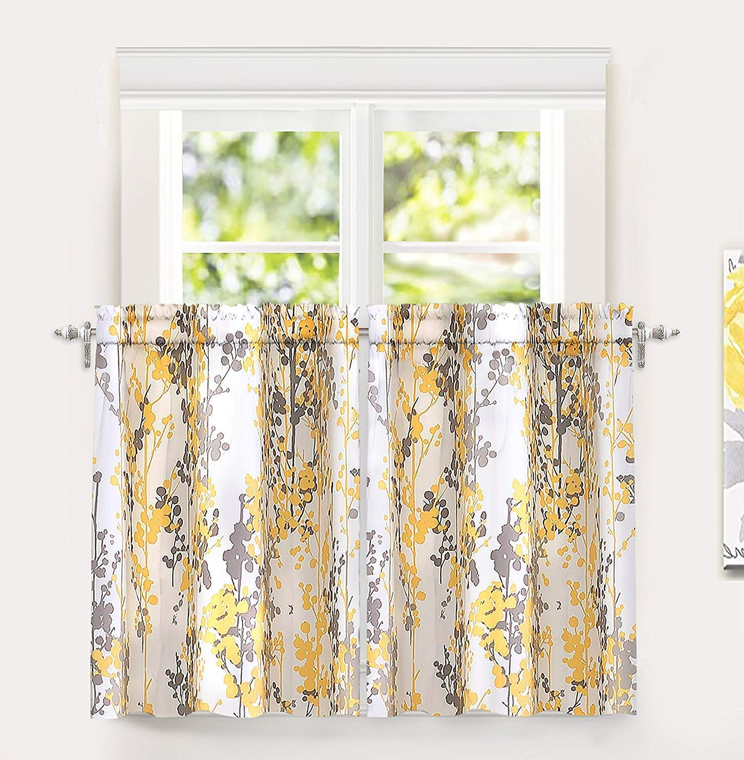 "2020 Driftaway Leah Abstract Floral Blossom Ink Painting Room Darkening Kitchen Tier Window Treatment, Set Of Two, Each 26""x36""+ 2"" Header (yellow/gray) With Floral Blossom Ink Painting Thermal Room Darkening Kitchen Tier Pairs (View 1 of 20)"