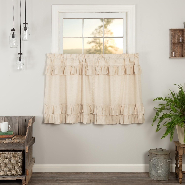 2020 Farmhouse Kitchen Curtains Vhc Simple Life Flax Tier Pair Rod Pocket Cotton  Linen Blend Solid Color Flax For Farmhouse Kitchen Curtains (View 1 of 20)