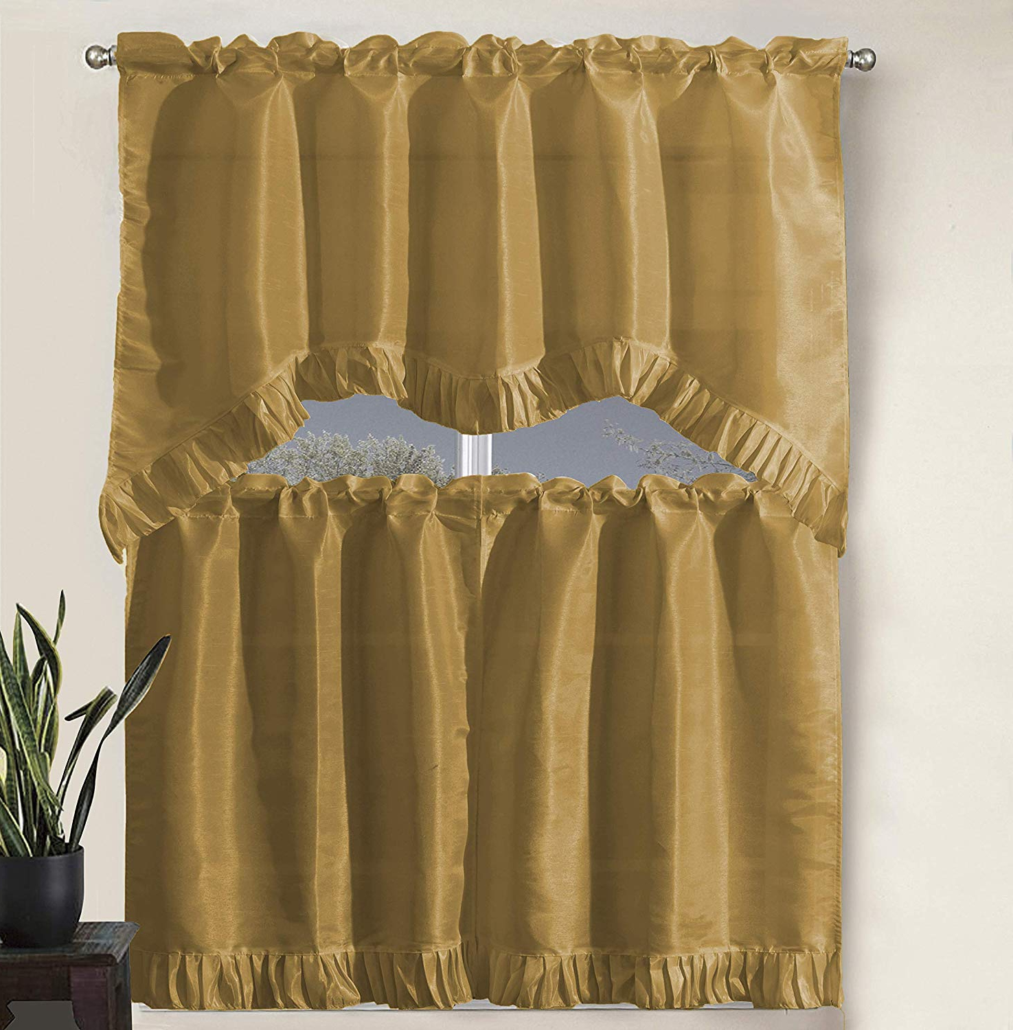 """2020 Faux Silk 3 Piece Kitchen Curtain Sets With Regard To Decotex 3 Piece Pleated Ruffles Faux Silk Solid Kitchen Window Treatment Curtain Set With Tiers And Valance (36"""" Tiers With Swag Valance, Gold) (View 18 of 20)"""