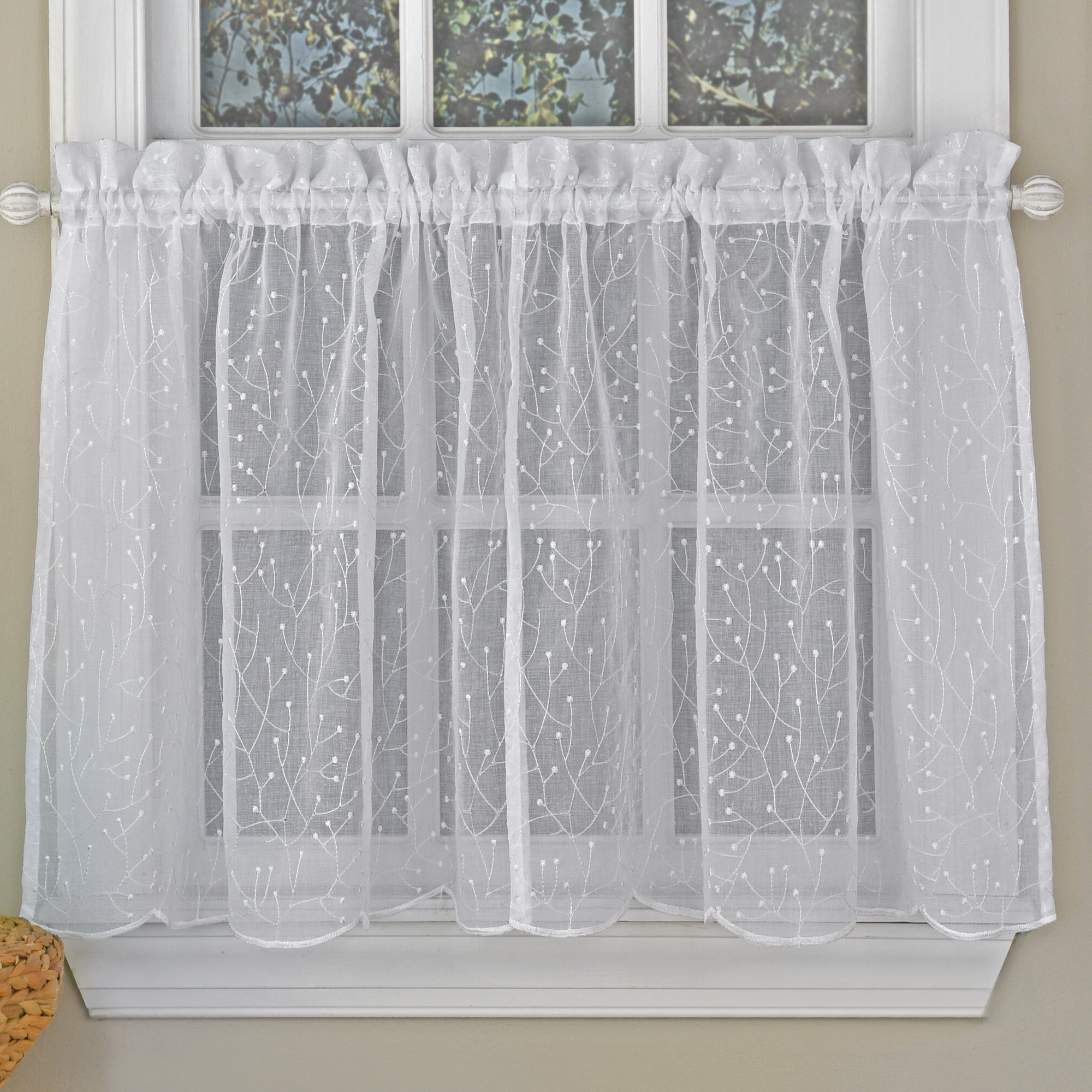 "2020 Floral Embroidered Sheer Kitchen Curtain Tiers, Swags And Valances Pertaining To Howarth Floral Spray Semi Sheer Kitchen 55"" Window Valance (View 19 of 20)"