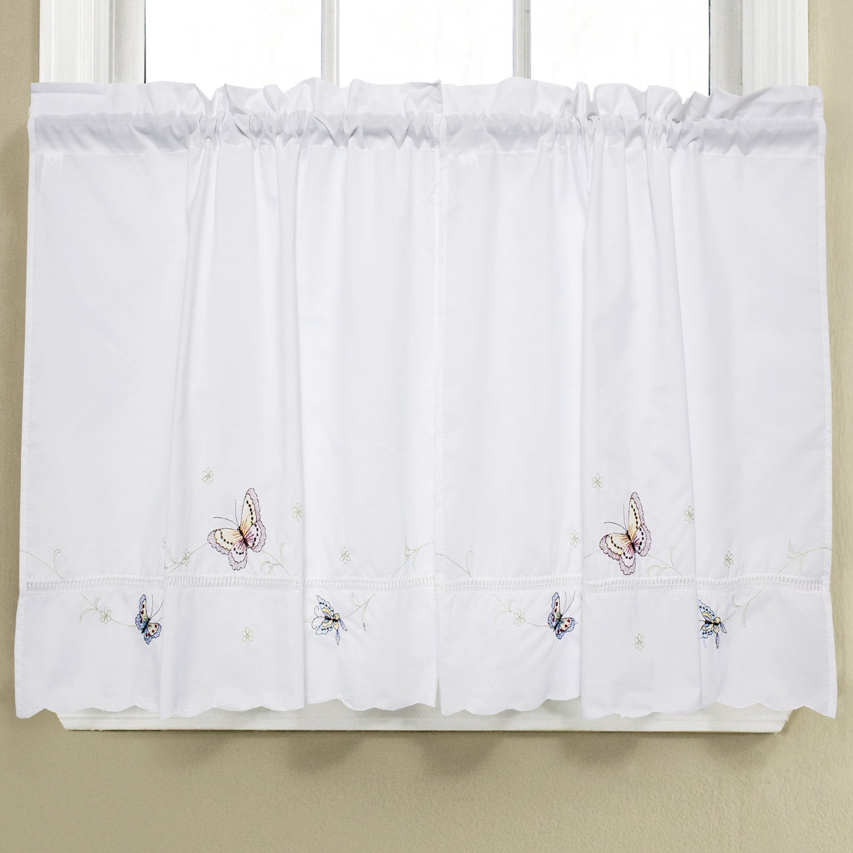 2020 Fluttering Butterfly White Embroidered Tier, Swag, Or Valance Kitchen Curtains With Regard To Fluttering Butterfly White Embroidered Tier, Swag, Or Valance Kitchen Curtains (View 3 of 20)