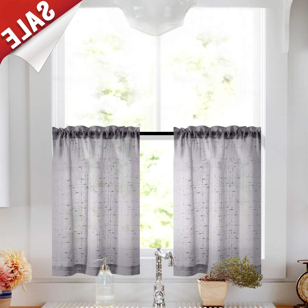 2020 Gray Tier Curtains 24 Inch Rod Pocket Kitchen Window Tiers Sheer Cafe Curtain Set Linen Textured Grey Voile Drapes 2 Panels Throughout Linen Stripe Rod Pocket Sheer Kitchen Tier Sets (View 6 of 20)