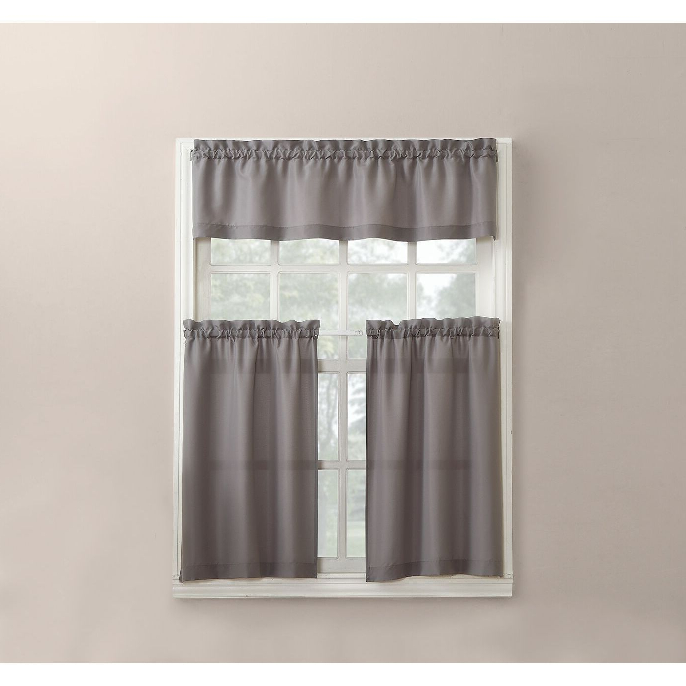 2020 Grey Window Curtain Tier And Valance Sets For No (View 4 of 20)