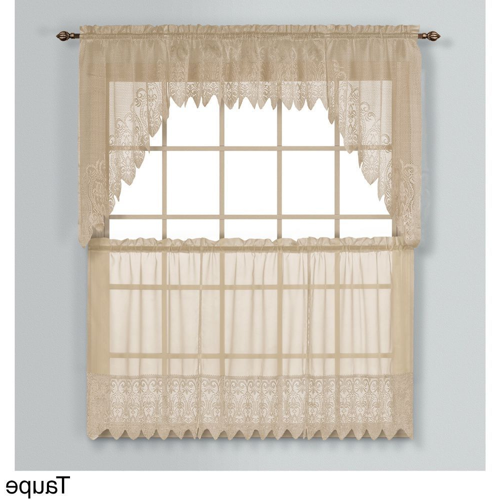 2020 Luxury Collection Valerie Semi Sheer Kitchen Tier In 2019 Pertaining To Abby Embroidered 5 Piece Curtain Tier And Swag Sets (View 17 of 20)