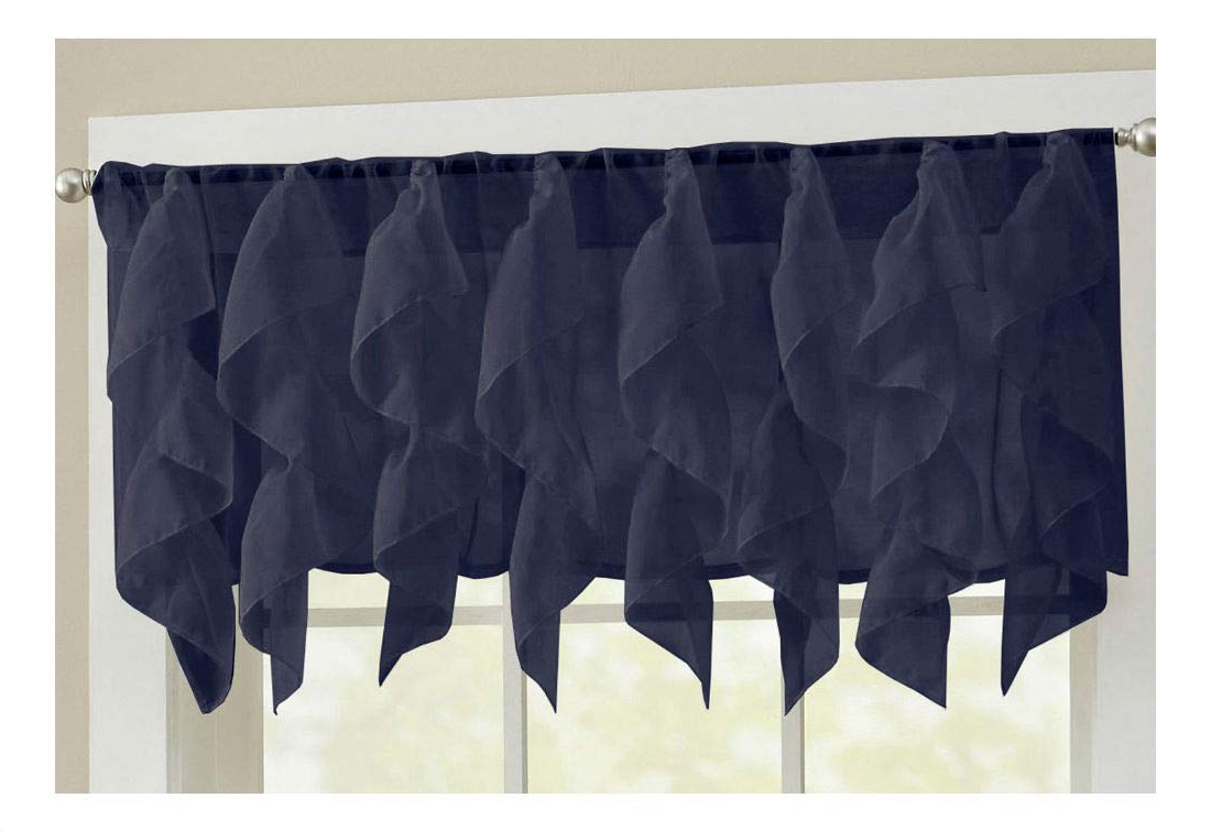 "2020 Maize Vertical Ruffled Waterfall Valance And Curtain Tiers With Sheer Voile Vertical Ruffle Window Kitchen Curtain 12"" Valance (silver) (View 18 of 20)"