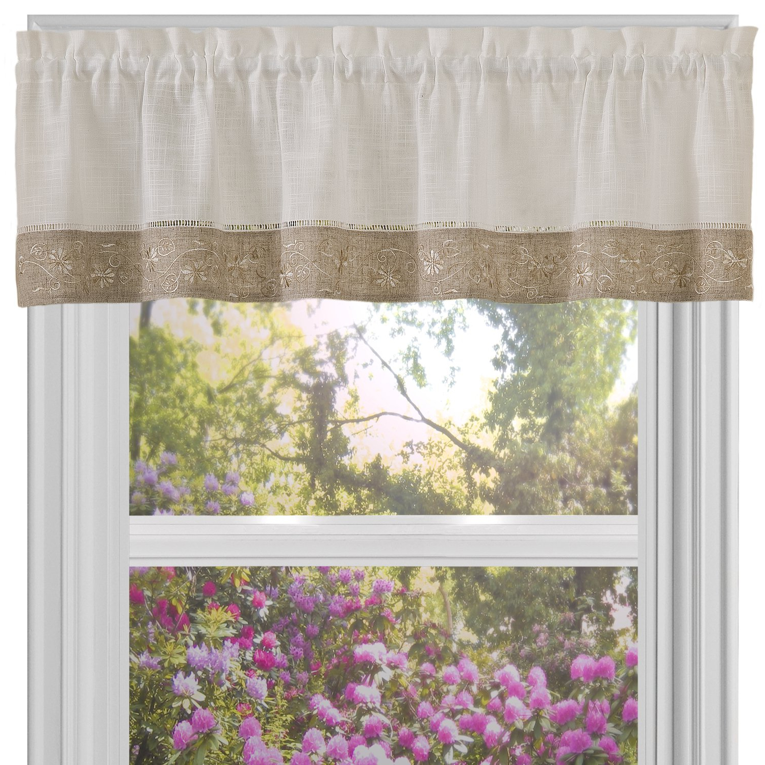 2020 Oakwood Linen Style Decorative Curtain Tier Sets Intended For Amazon: Sweet Home Collection Oakwood Linen Design (View 7 of 20)