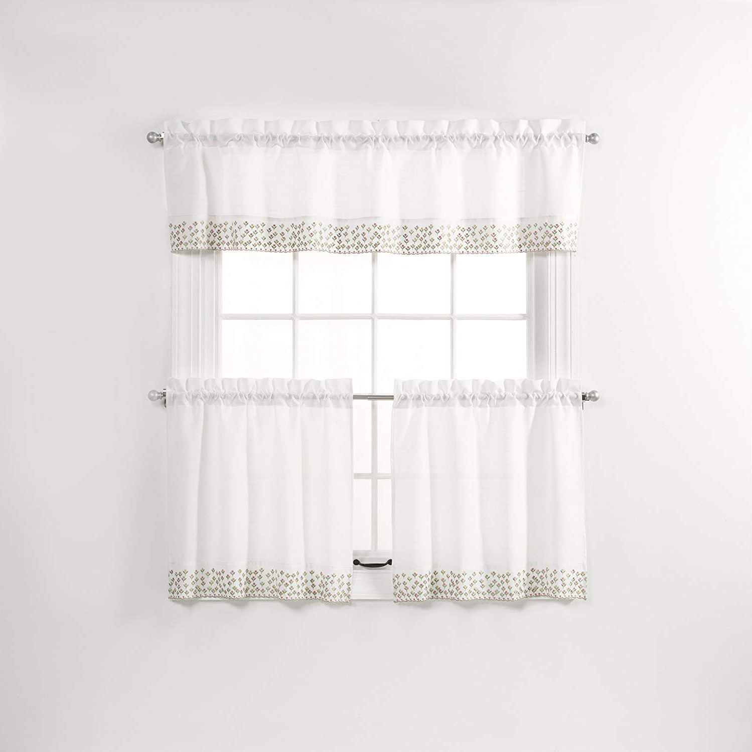 2021 Amazon: Renaissance Home Fashion Olivia Tier Pair With Regarding Coffee Drinks Embroidered Window Valances And Tiers (View 1 of 20)