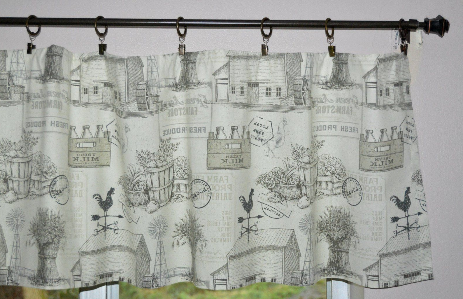 2021 Barnyard Buffalo Check Rooster Window Valances Intended For Farmhouse Valance . Farm Toile Rooster Valance (View 12 of 20)