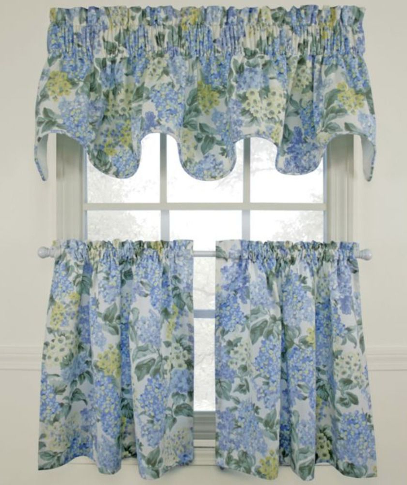 2021 Barnyard Window Curtain Tier Pair And Valance Sets With Regard To New Blue Hydrangea Valance & Curtains Set Scallop Window (View 18 of 20)