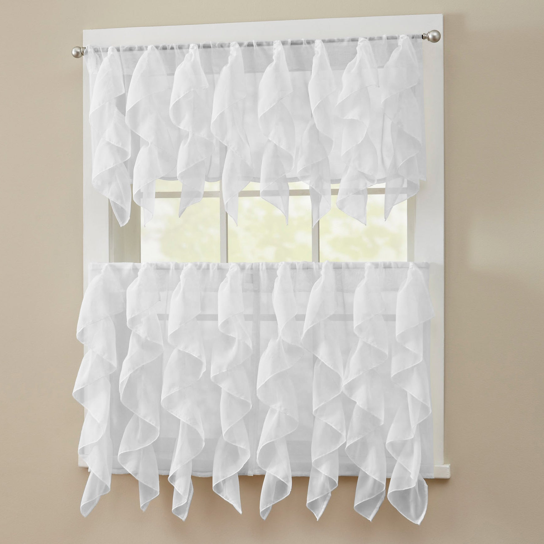 2021 Chic Sheer Voile Vertical Ruffled Window Curtain Tiers Throughout Chic Sheer Voile Vertical Ruffled Tier Window Curtain Valance And Tier (View 5 of 20)