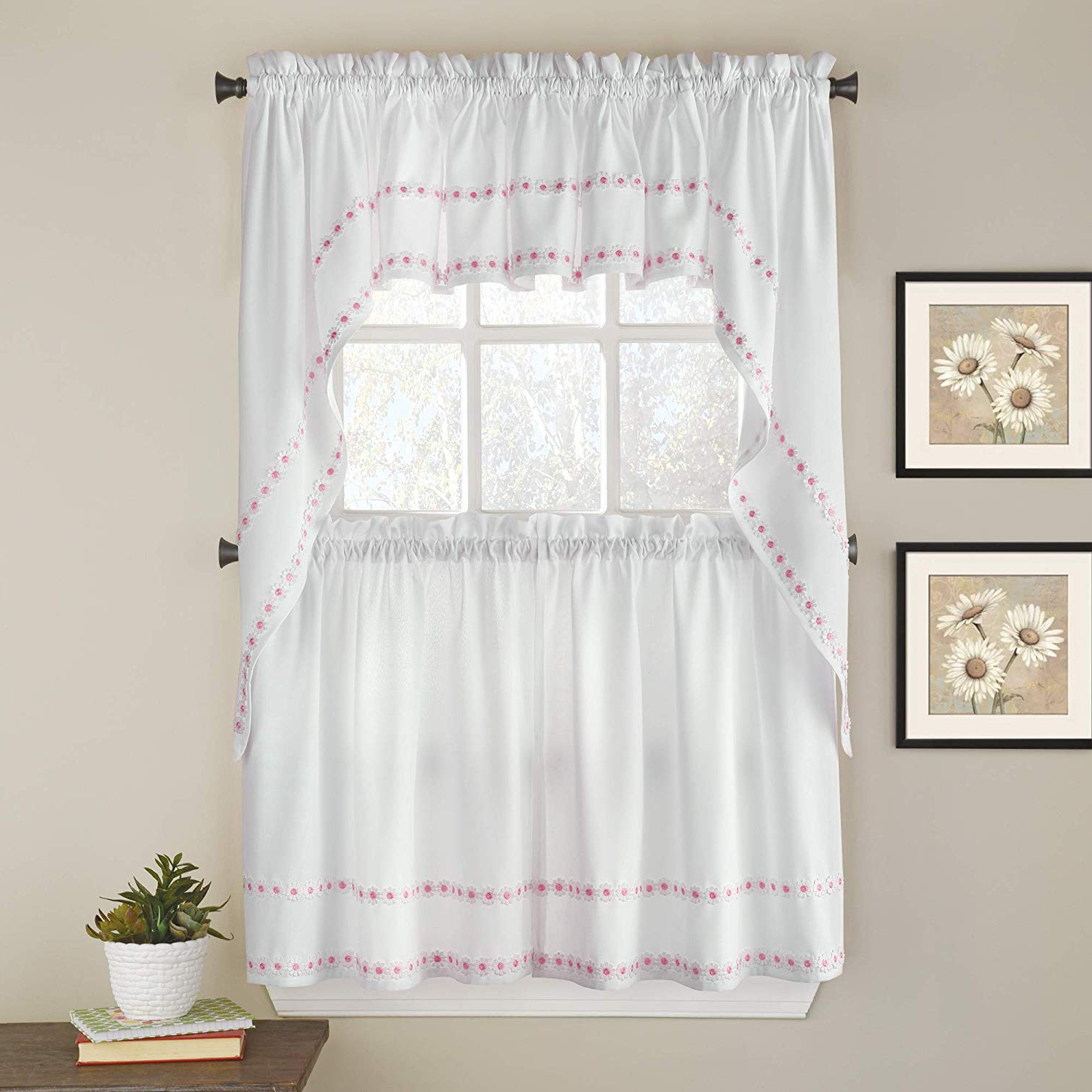 """2021 Chocolate 5 Piece Curtain Tier And Swag Sets With Regard To Sweet Home Collection Kitchen Window Curtain 5 Piece Set With Valance,  Swag, And Choice Of 24"""" Or 36"""" Tier Pair Daisy Mae Pink (View 2 of 20)"""