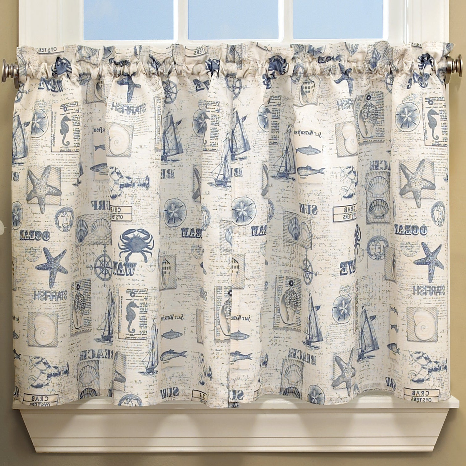 2021 Coastal Tier And Valance Window Curtain Sets With Regard To Vintage Sea Shore All Over Printed Window Curtain Separates (View 7 of 20)