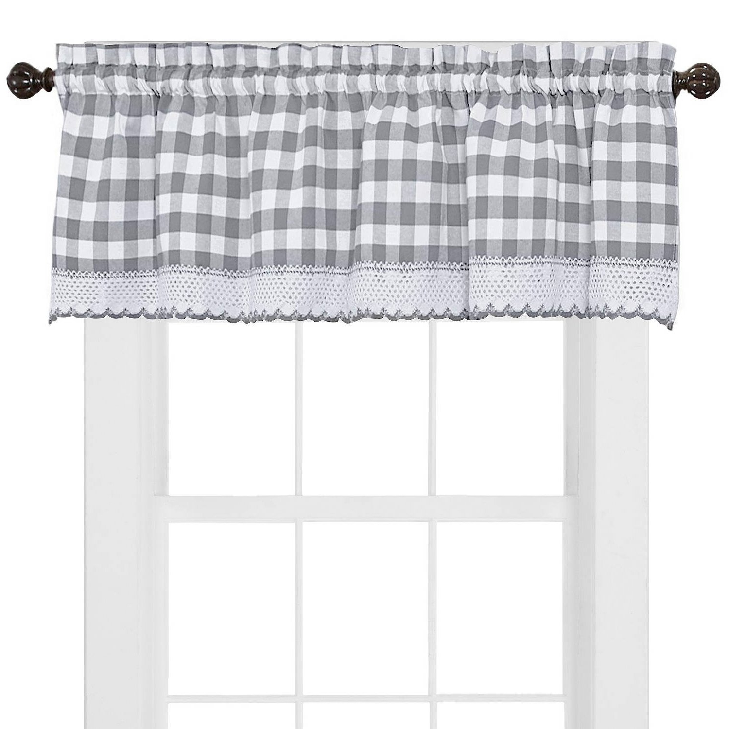 2021 Cotton Blend Classic Checkered Decorative Window Curtains With Sweet Home Collection Kitchen Window Curtain Panel Treatment Decorative Buffalo Check Design Valance Gray (View 13 of 20)
