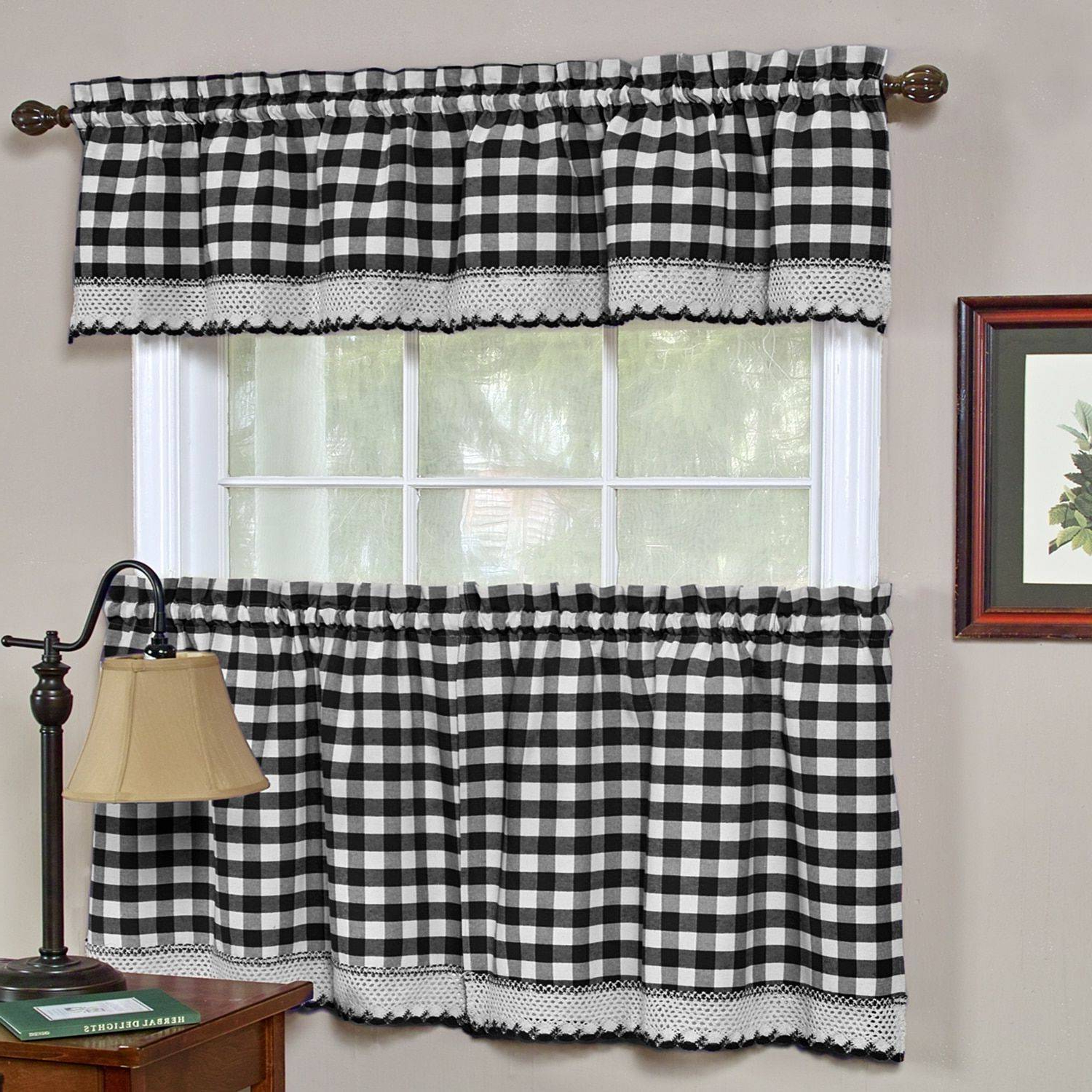 2021 Decorating Classic Check Kitchen Black And White Cotton For Fluttering Butterfly White Embroidered Tier, Swag, Or Valance Kitchen Curtains (View 16 of 20)