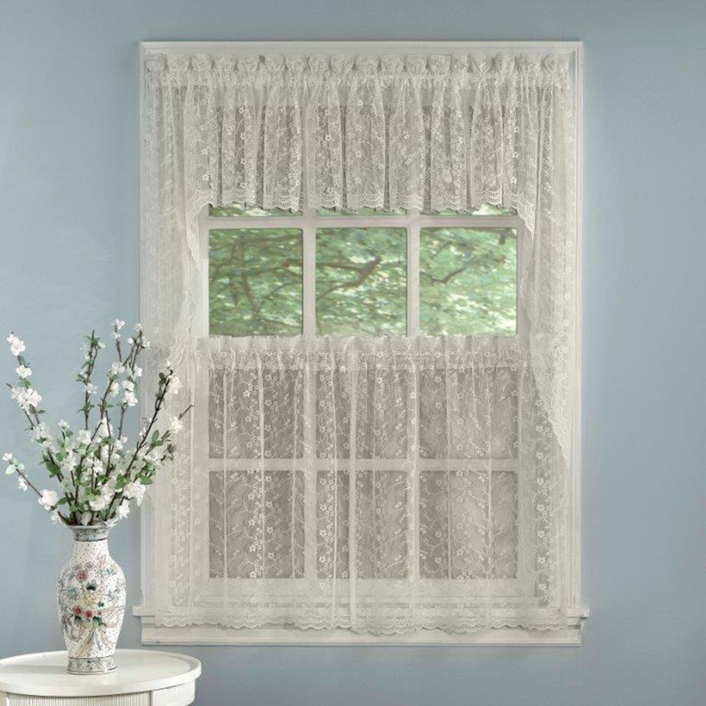 2021 Details About Elegant Ivory Priscilla Lace Kitchen Curtains – Tiers,  Tailored Valance Or Swag Throughout White Knit Lace Bird Motif Window Curtain Tiers (View 1 of 20)