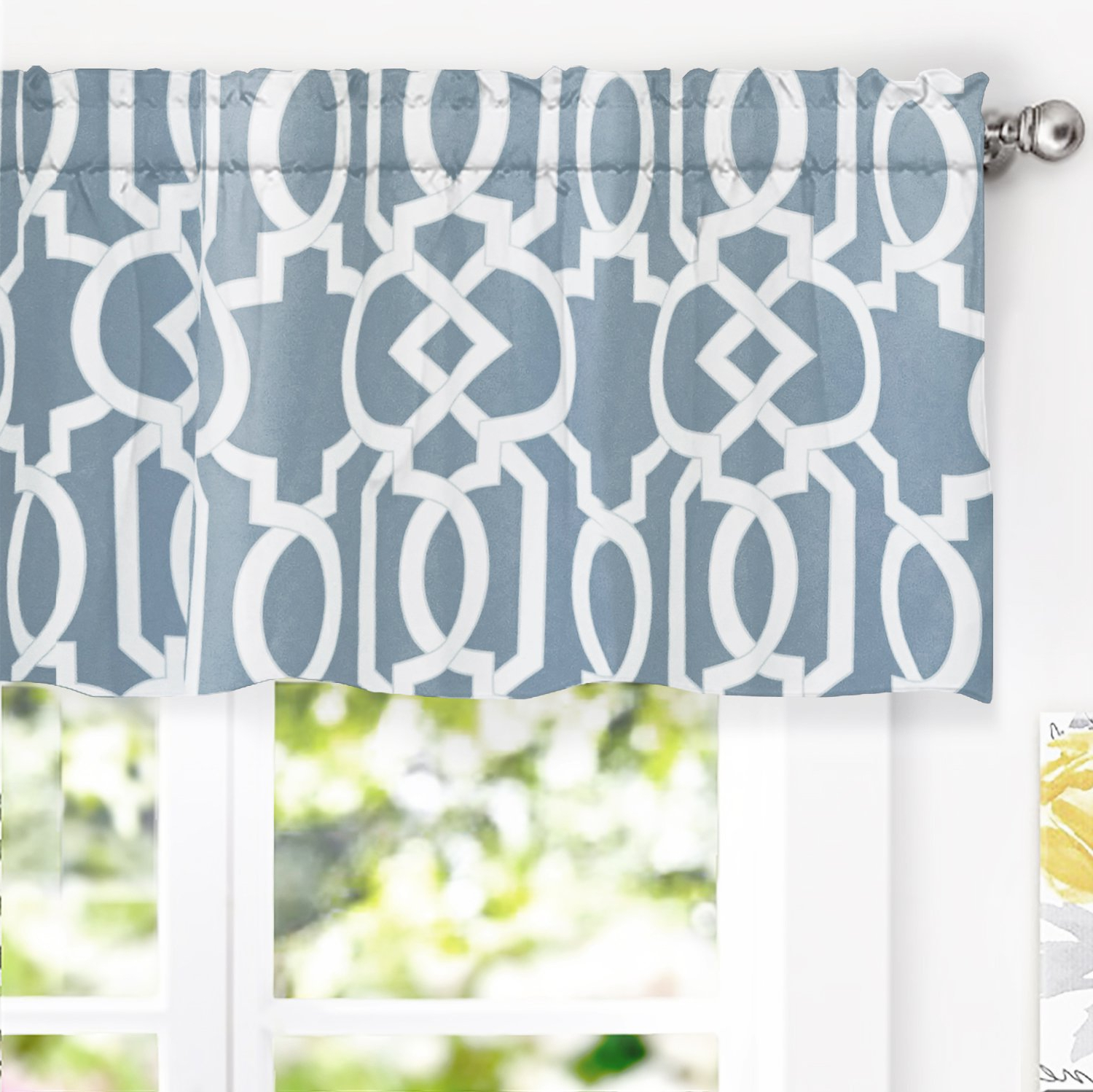 2021 Driftaway Abigail Geometric Trellis Pattern Window Curtain Valance Rod Pocket 52 Inch18 Inch Blue In Trellis Pattern Window Valances (View 5 of 20)