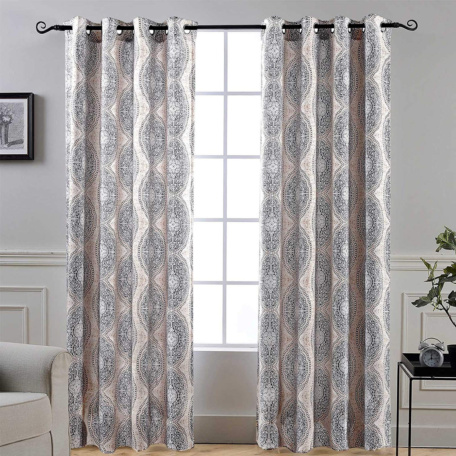 2021 Driftaway Adrianne Thermal And Room Darkening Grommet Unlined Window Curtains Set Of 2 Panels Each 52 Inch96 Inch Beige And Gray Within Pastel Damask Printed Room Darkening Kitchen Tiers (View 7 of 20)