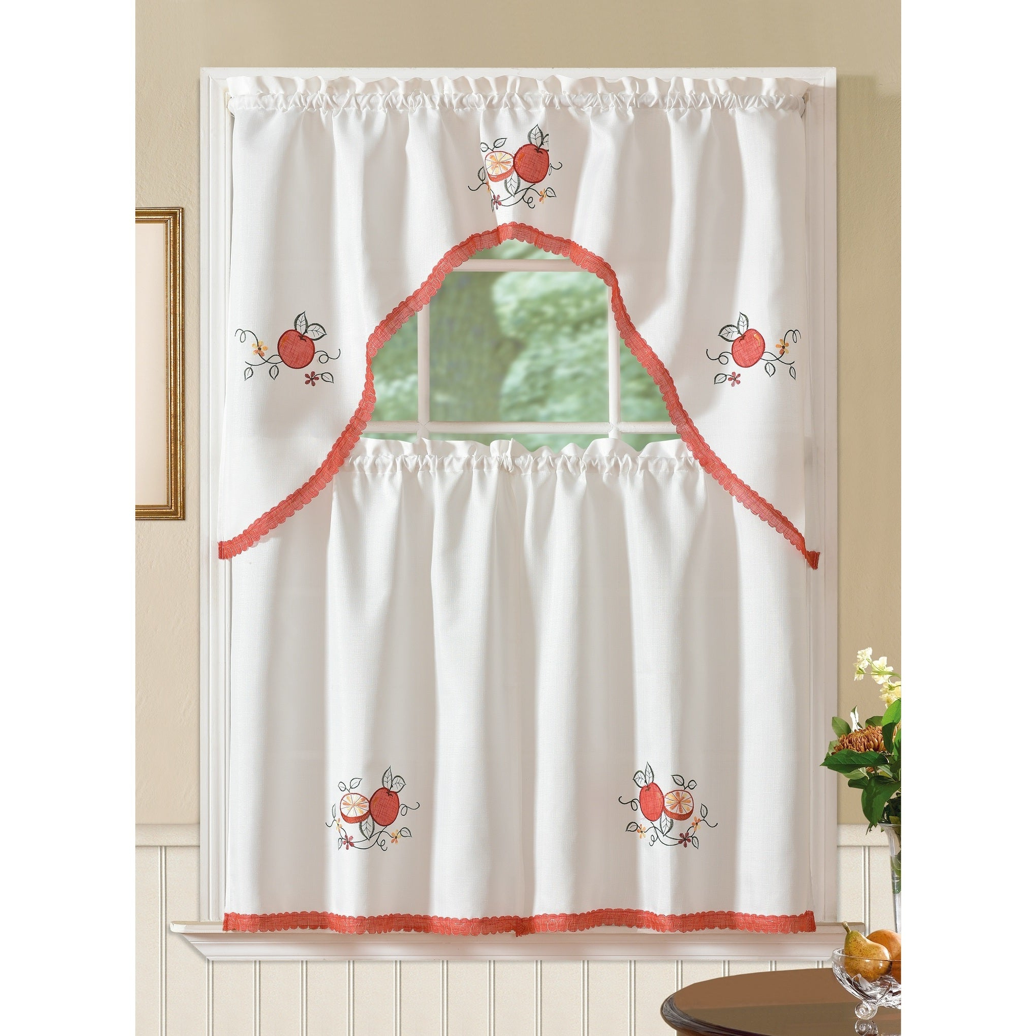 2021 Fluttering Butterfly White Embroidered Tier, Swag, Or Valance Kitchen Curtains In Details About Rt Designers Collection Regal Embroidered Tier And Valance (View 11 of 20)