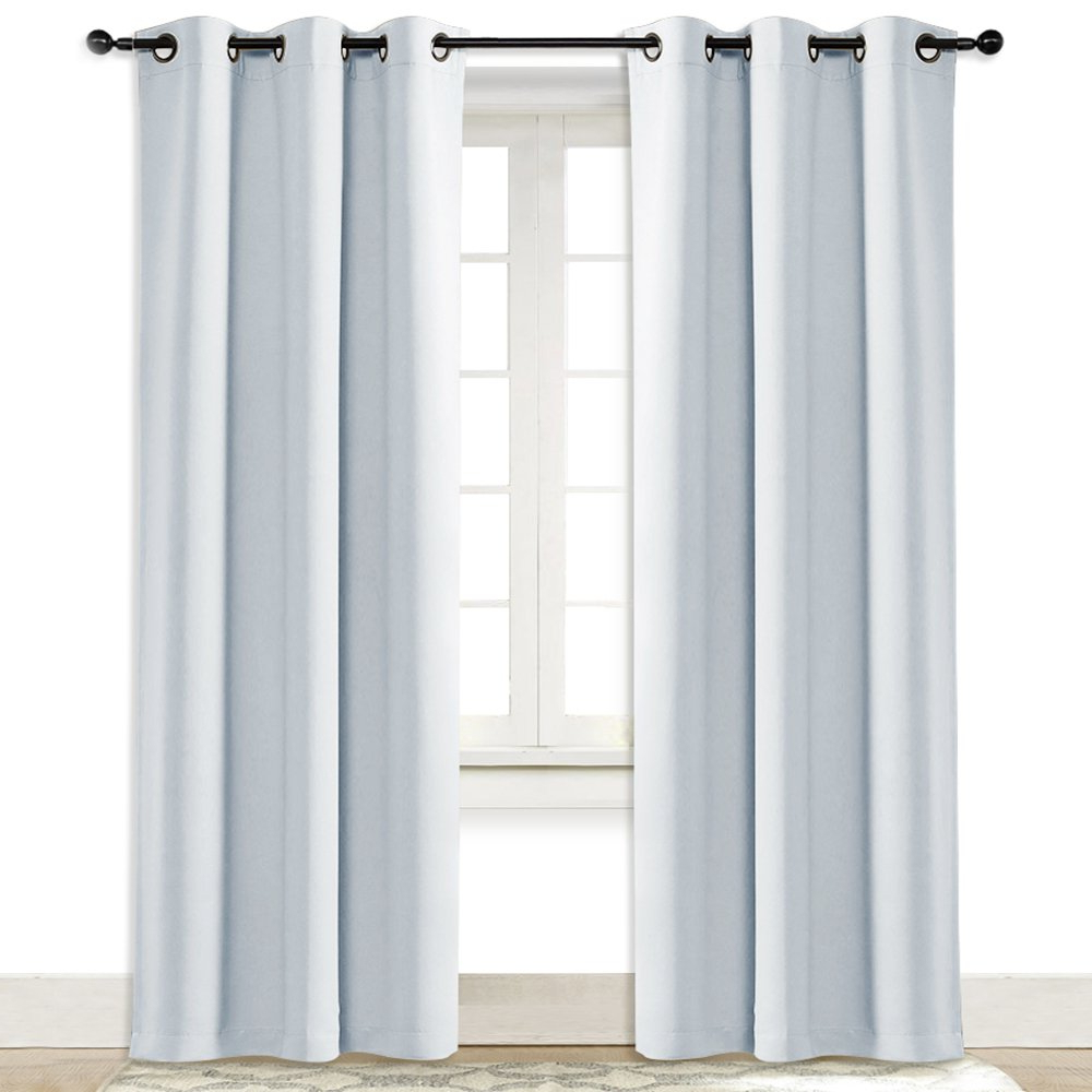 2021 Nicetown Greyish White Window Curtain And Drape Easy Care Solid Thermal Insulated Grommet Room Darkening Drapery For Kids' Room (1 Panel, 4284, With Modern Subtle Texture Solid White Kitchen Curtain Parts With Grommets Tier And Valance Options (View 15 of 20)