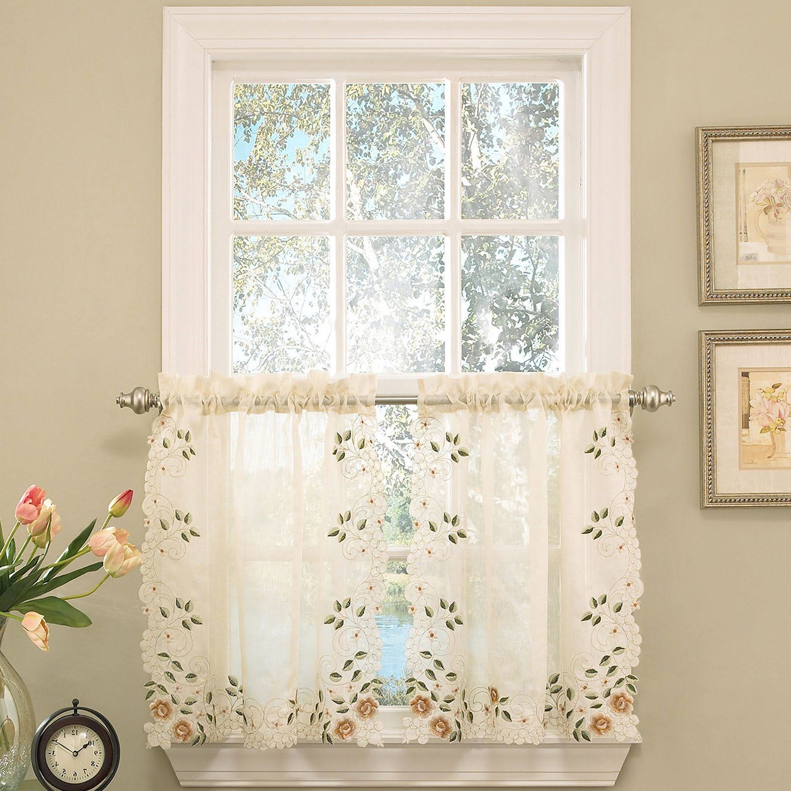 2021 Old World Floral Embroidered Sheer Kitchen Curtain Parts In Floral Embroidered Sheer Kitchen Curtain Tiers, Swags And Valances (View 4 of 20)